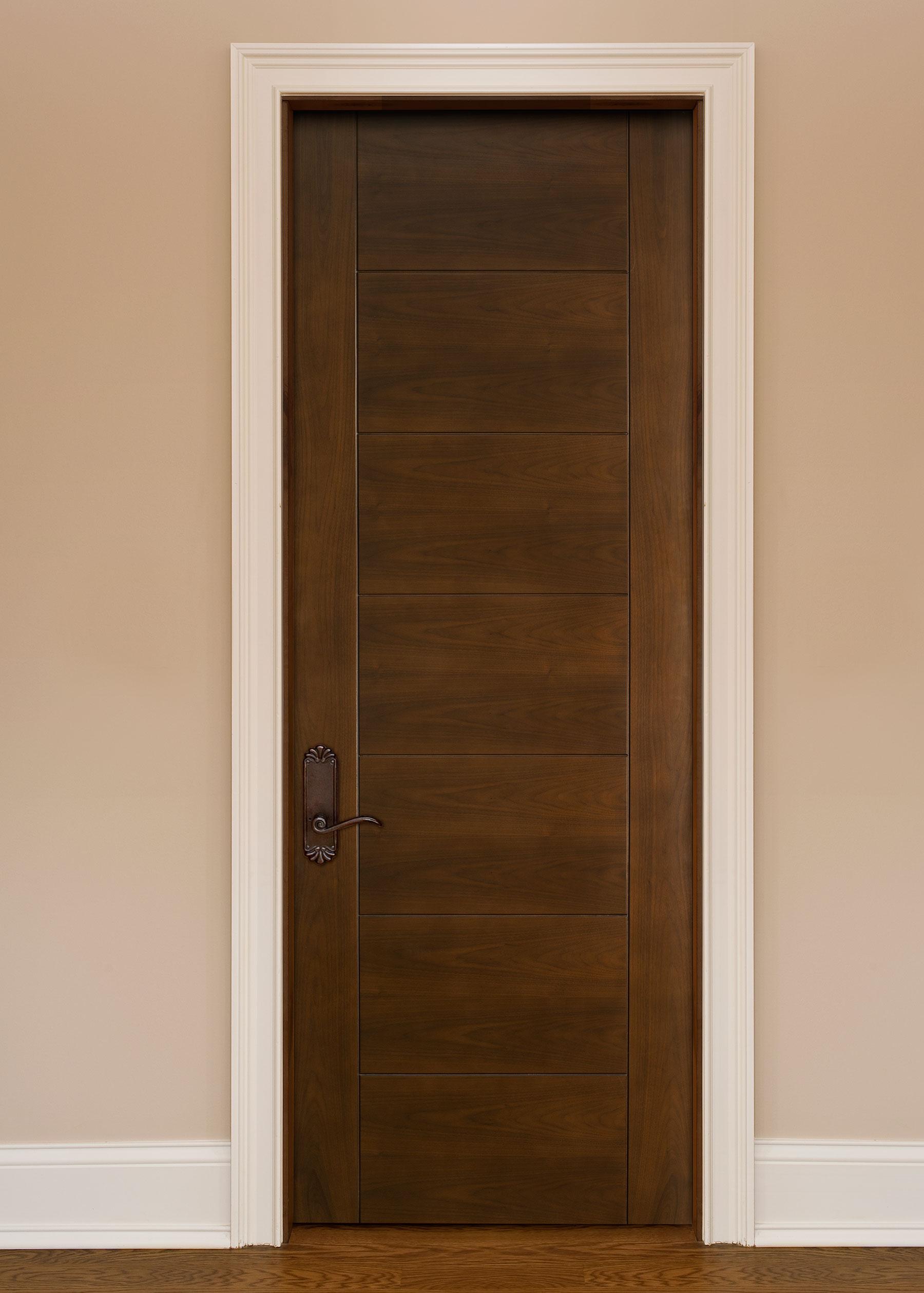 Custom Wood Interior Doors | Custom Modern Wood Door with Contemporary V-Grooves DBI-711 - Glenview Doors - Custom Doors in Chicago