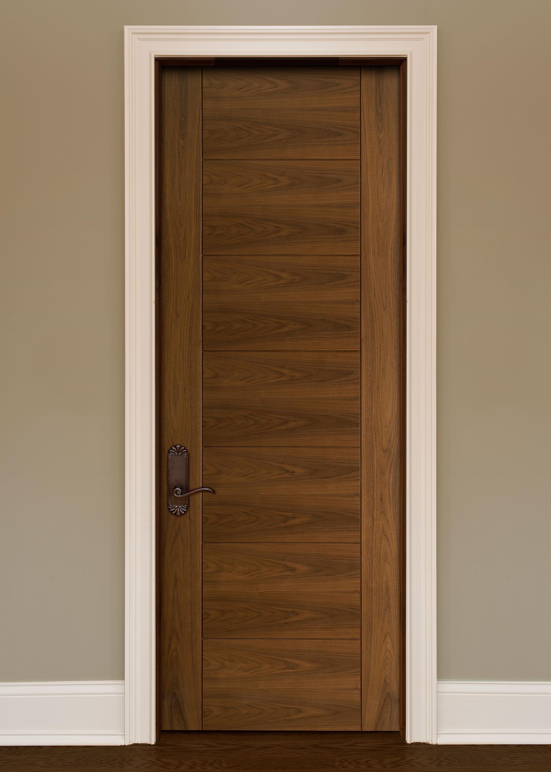 Custom Wood Interior Doors | Custom Interior Modern Wood Door with V-Grooves DBI-711 - Glenview Doors - Custom Doors in Chicago