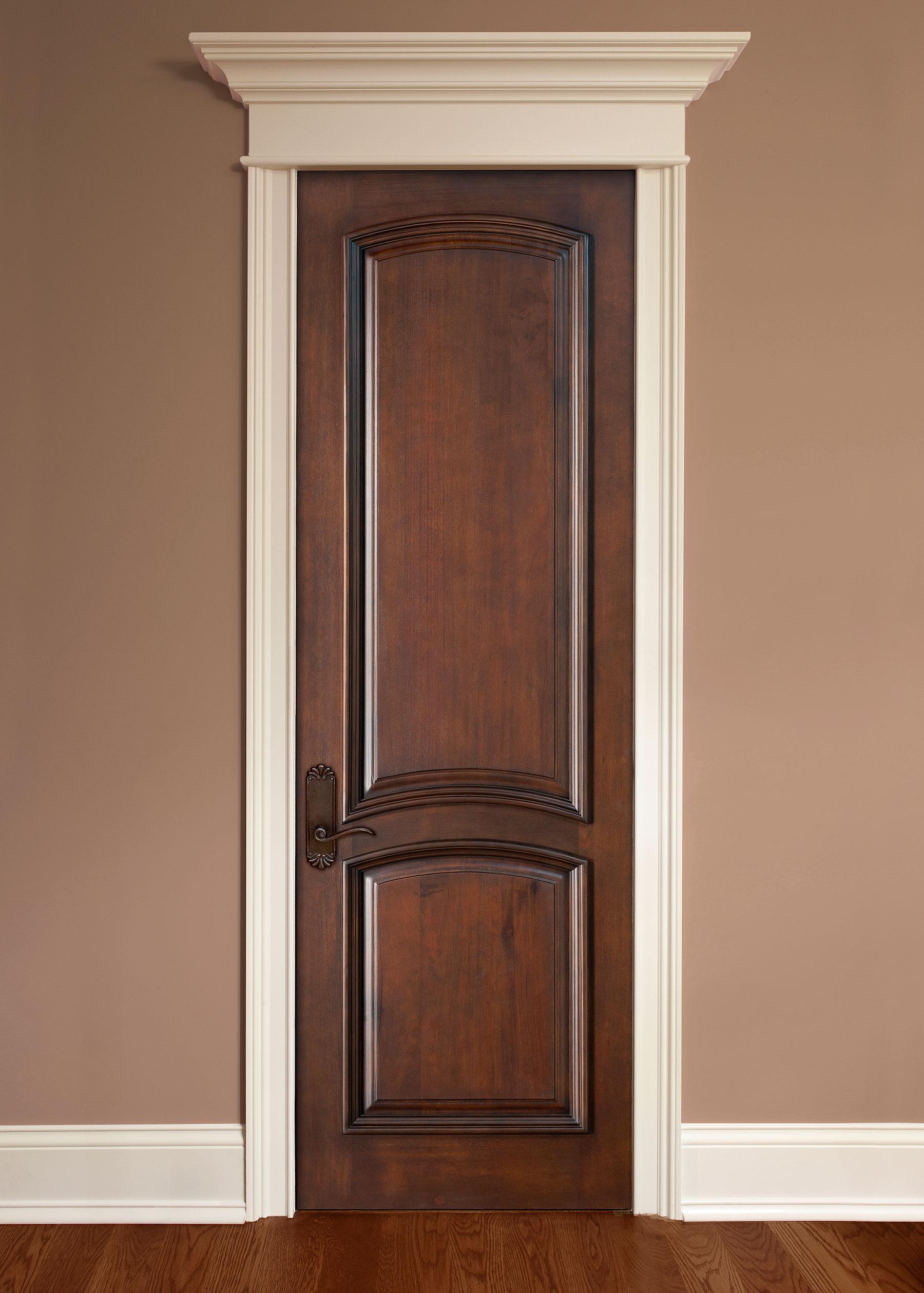 Custom Wood Interior Doors | Custom 2 Arched  Interior Wood Door with Raised Moulding DBI-2050 - Glenview Doors - Custom Doors in Chicago