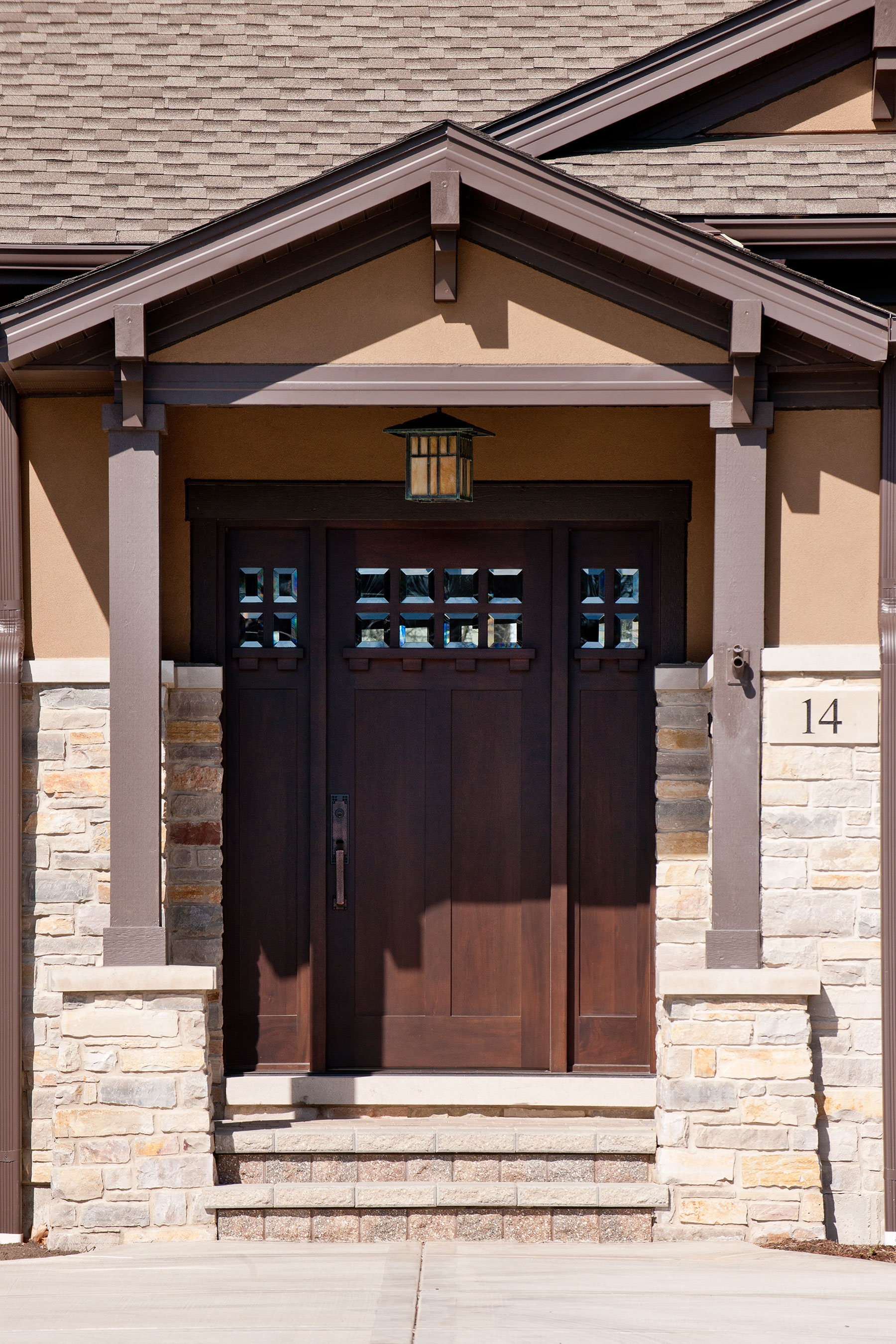 Custom Wood Front Entry Doors | Craftsman Style Custom Front Entry Wood Door DB-311 2SL CST - Glenview Doors - Custom Doors in Chicago
