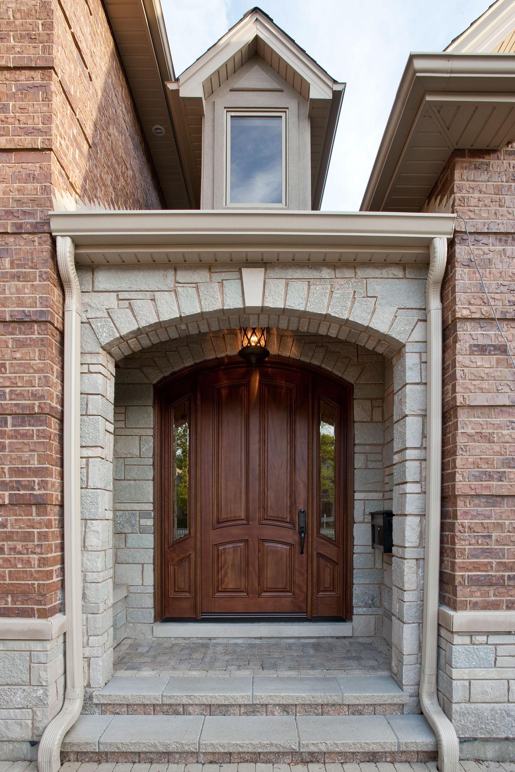 Wood Front Entry Doors in-Stock   4 Panel Solid Mahogany Wood Door with sidelites  DB-552W 2SL - Glenview Doors - Custom Doors in Chicago