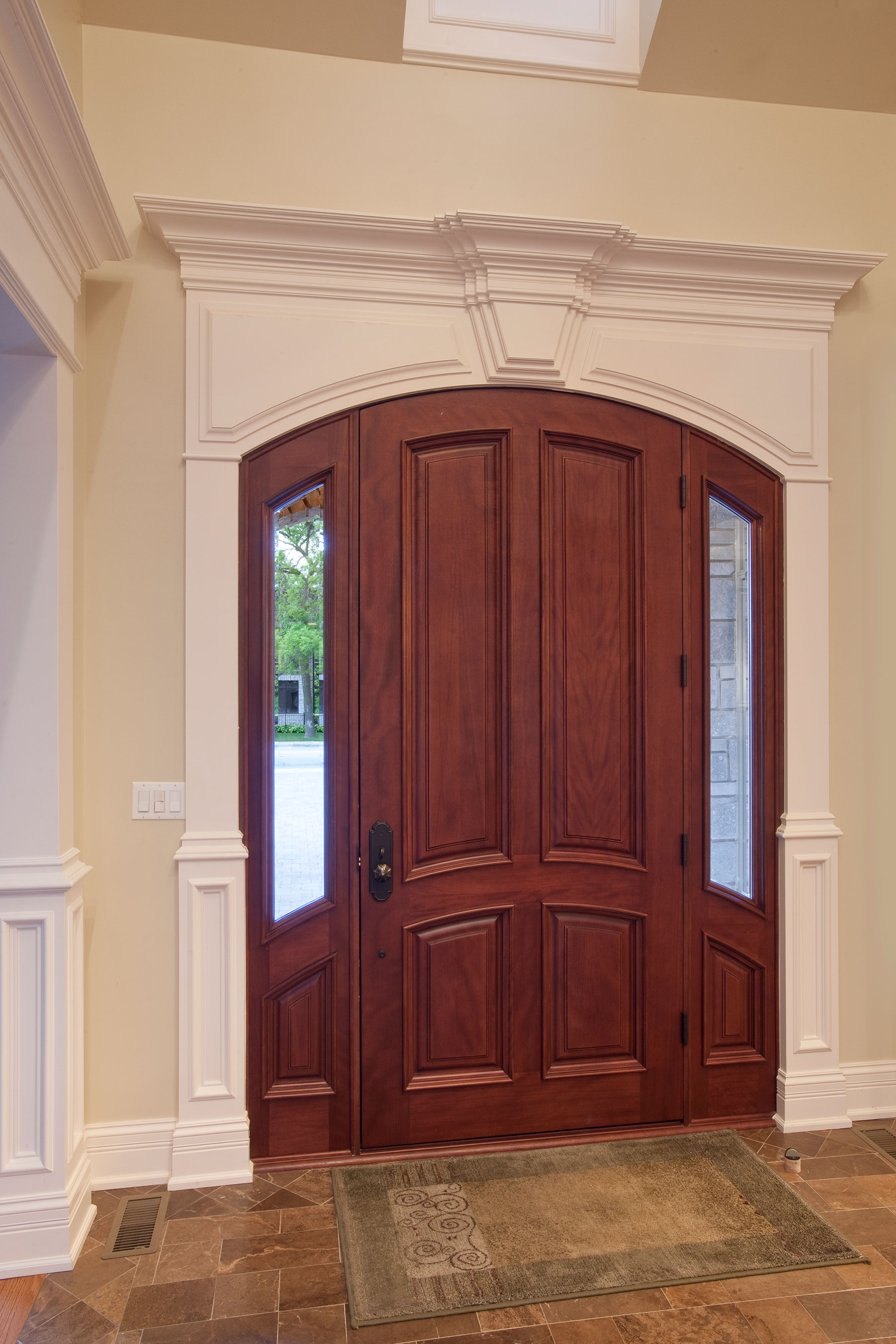 Wood Front Entry Doors in-Stock | 4 Panel  Solid Mahogany Wood Door with sidelites  DB-152W 2SL - Glenview Doors - Custom Doors in Chicago