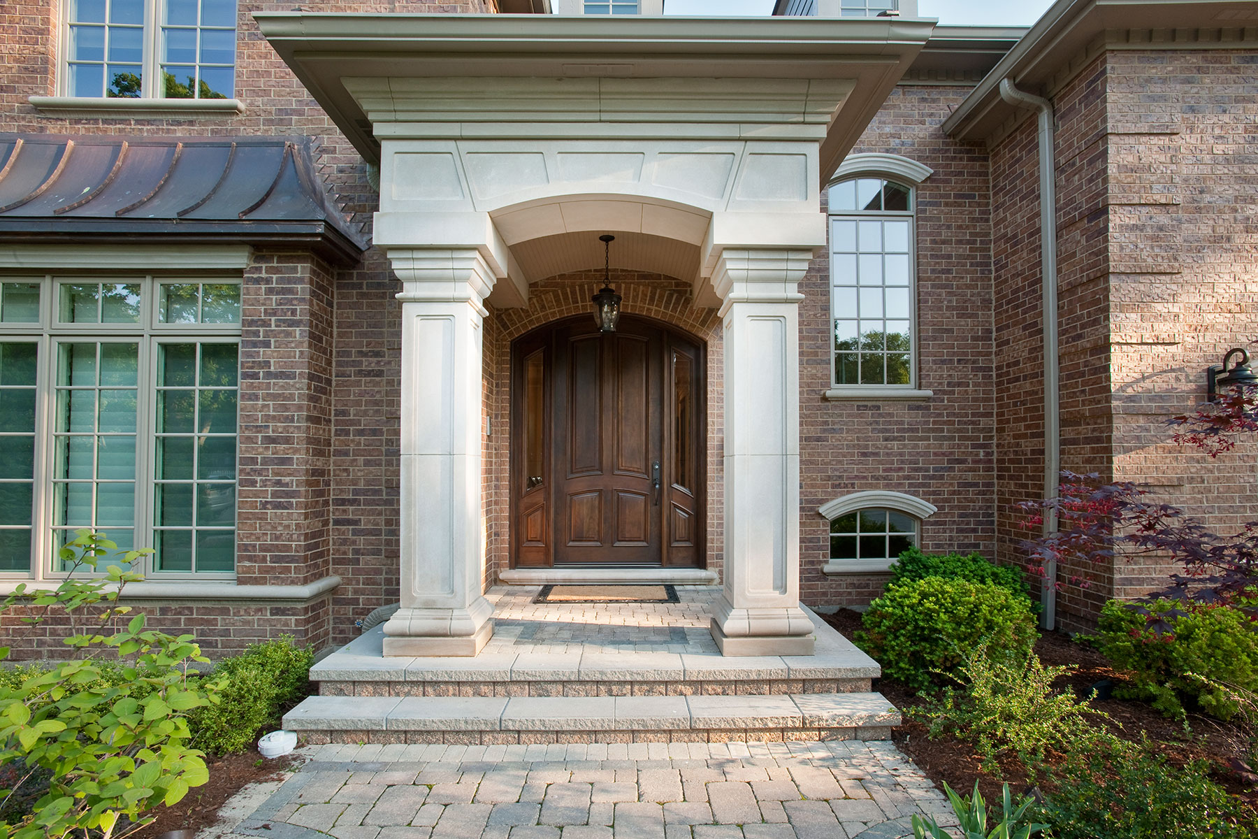 Wood Front Entry Doors in-Stock | 4 Panel Single Solid Mahogany Wood Door with sidelites - Clear Beveled Glass DB-152W 2SL - Glenview Doors - Custom Doors in Chicago