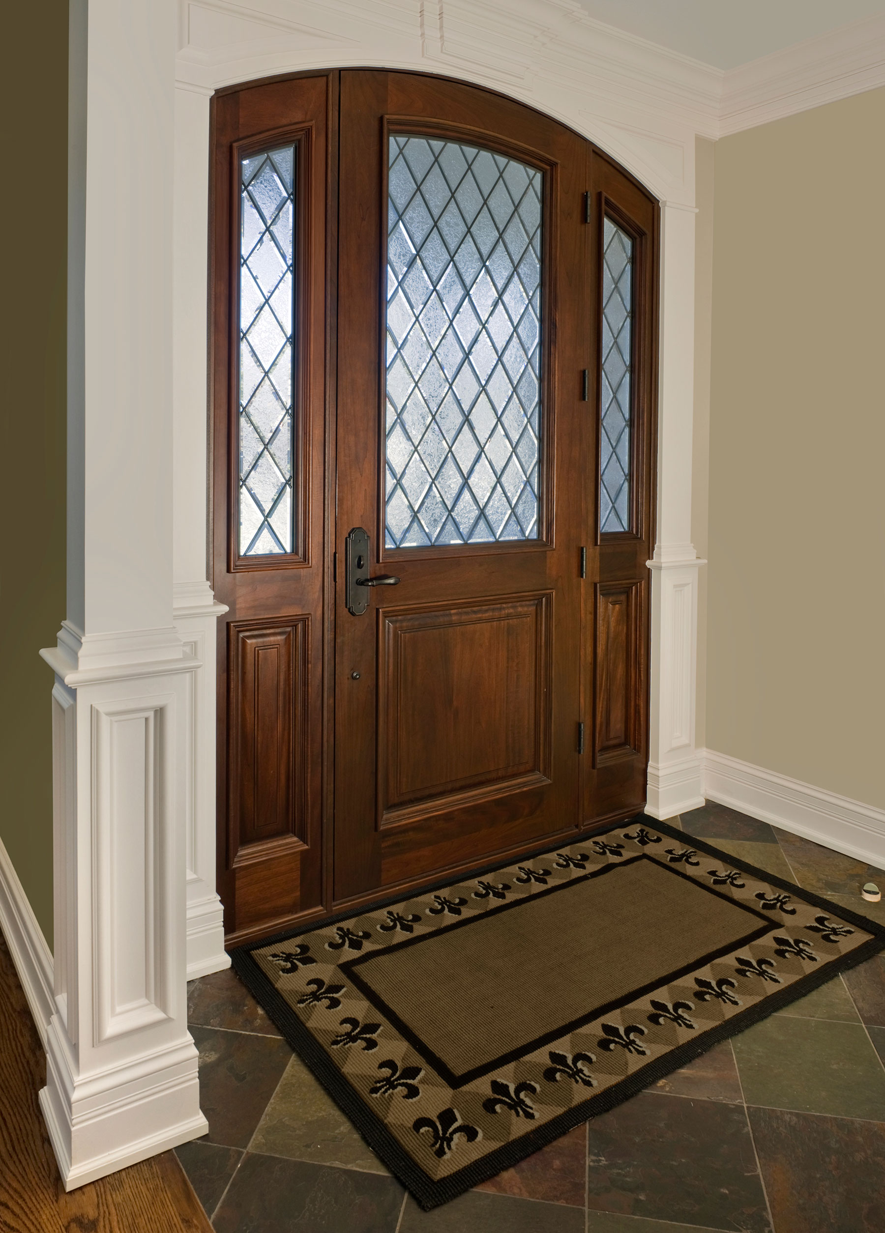 Wood Front Entry Doors in-Stock | Solid Wood Entry Door - Diamond Privacy Glass DB-552WDG 2SL - Glenview Doors - Custom Doors in Chicago