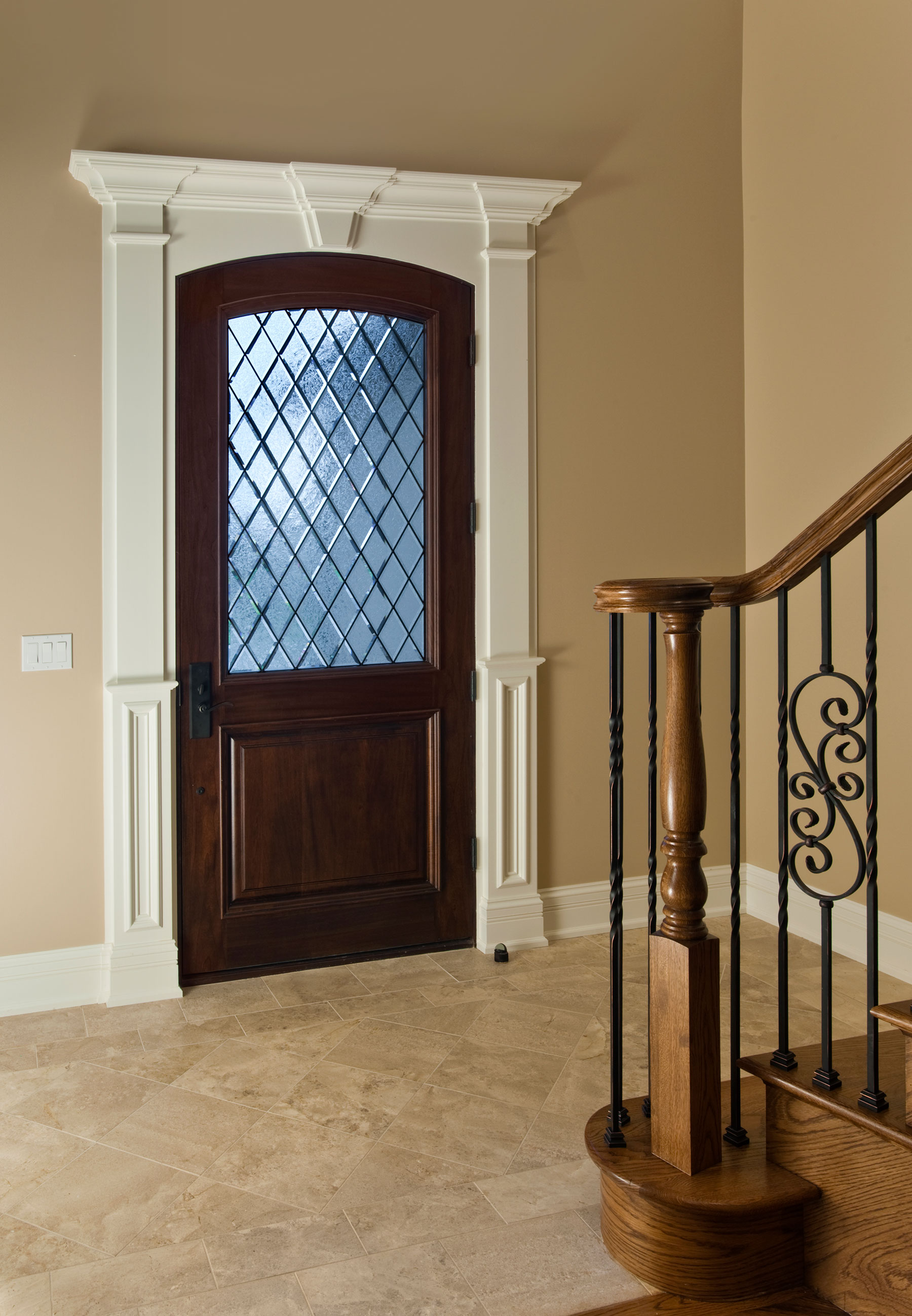 Wood Front Entry Doors in-Stock | Custom Door with Half Diamond Glass  DB-552WDG - Glenview Doors - Custom Doors in Chicago