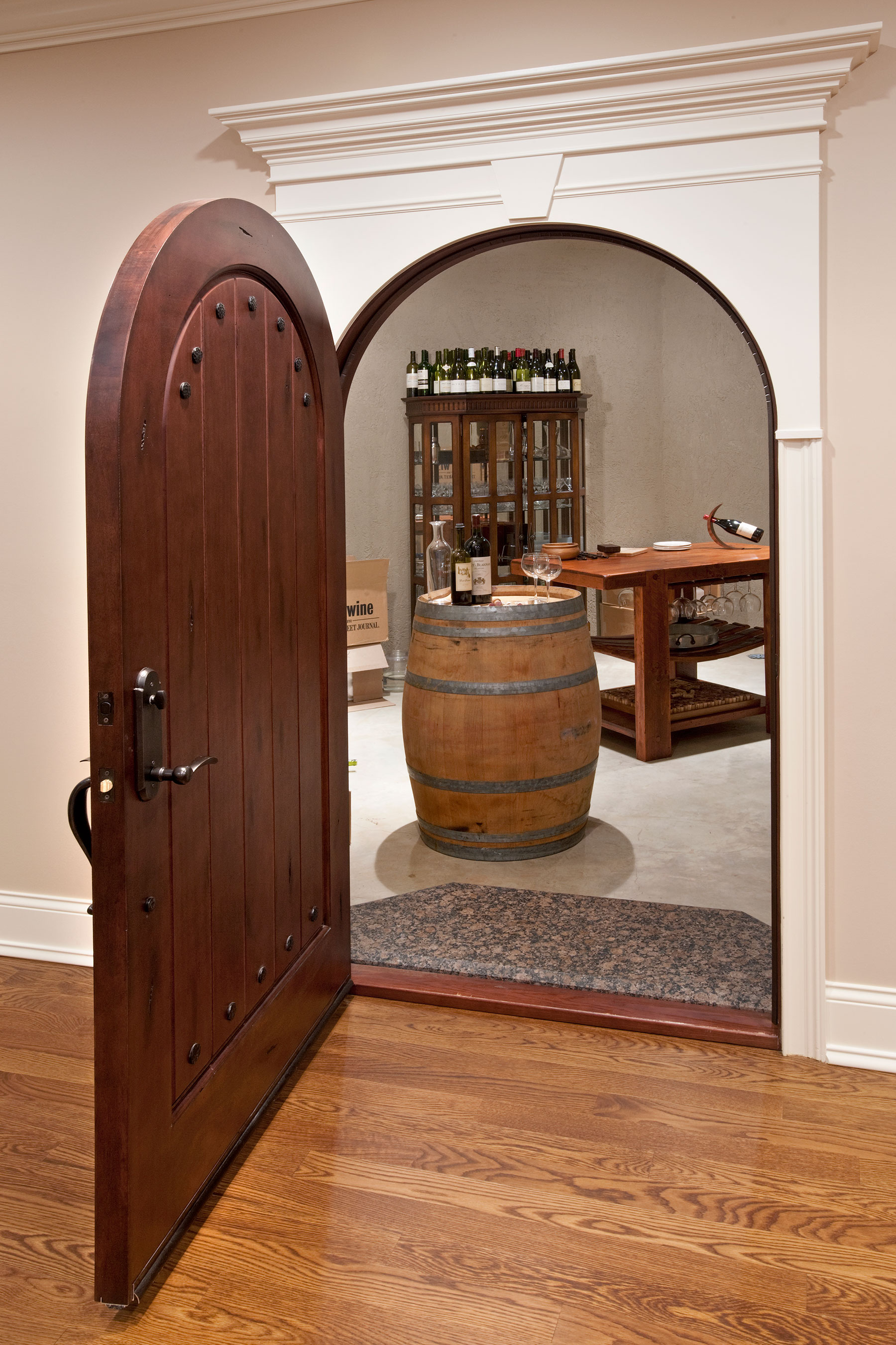 Custom Wood Interior Doors | Wine Cellar Door with Custom Clavos  DBI-123 - Glenview Doors - Custom Doors in Chicago