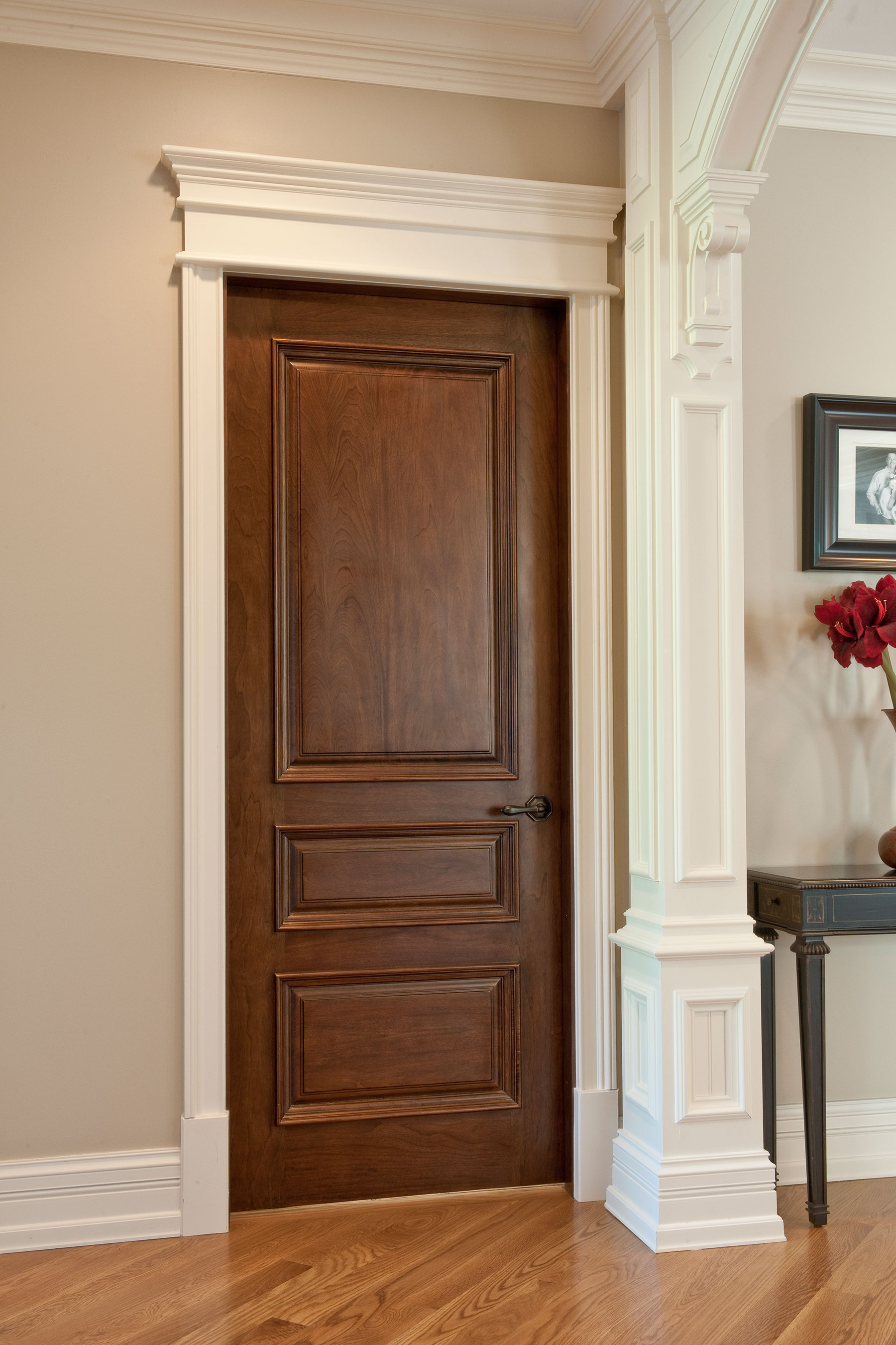Custom Wood Interior Doors | Single Three Pane l Door with Raised Moldings DBI-611 - Glenview Doors - Custom Doors in Chicago