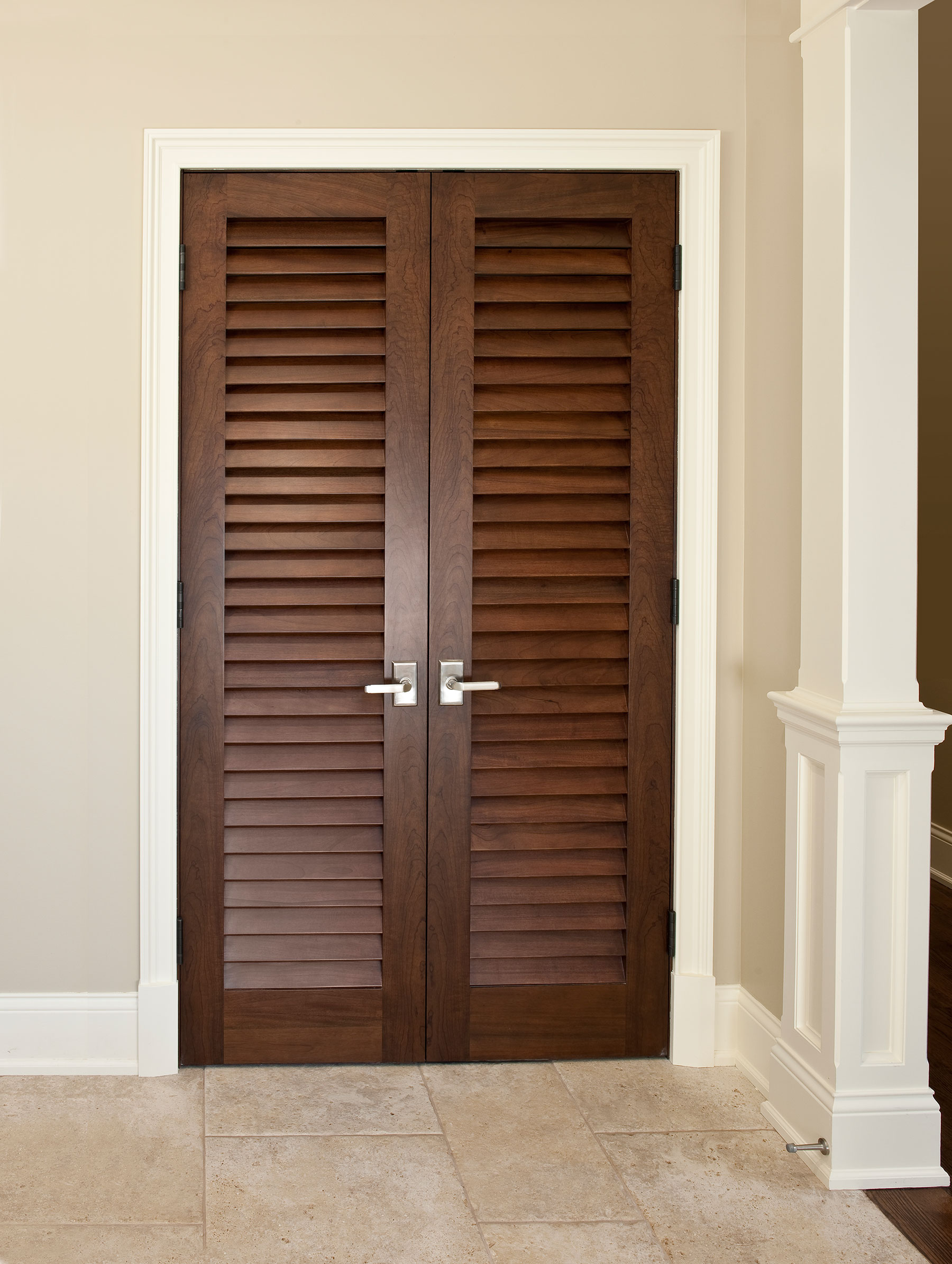 Interior Door Custom Double Solid Wood With Walnut