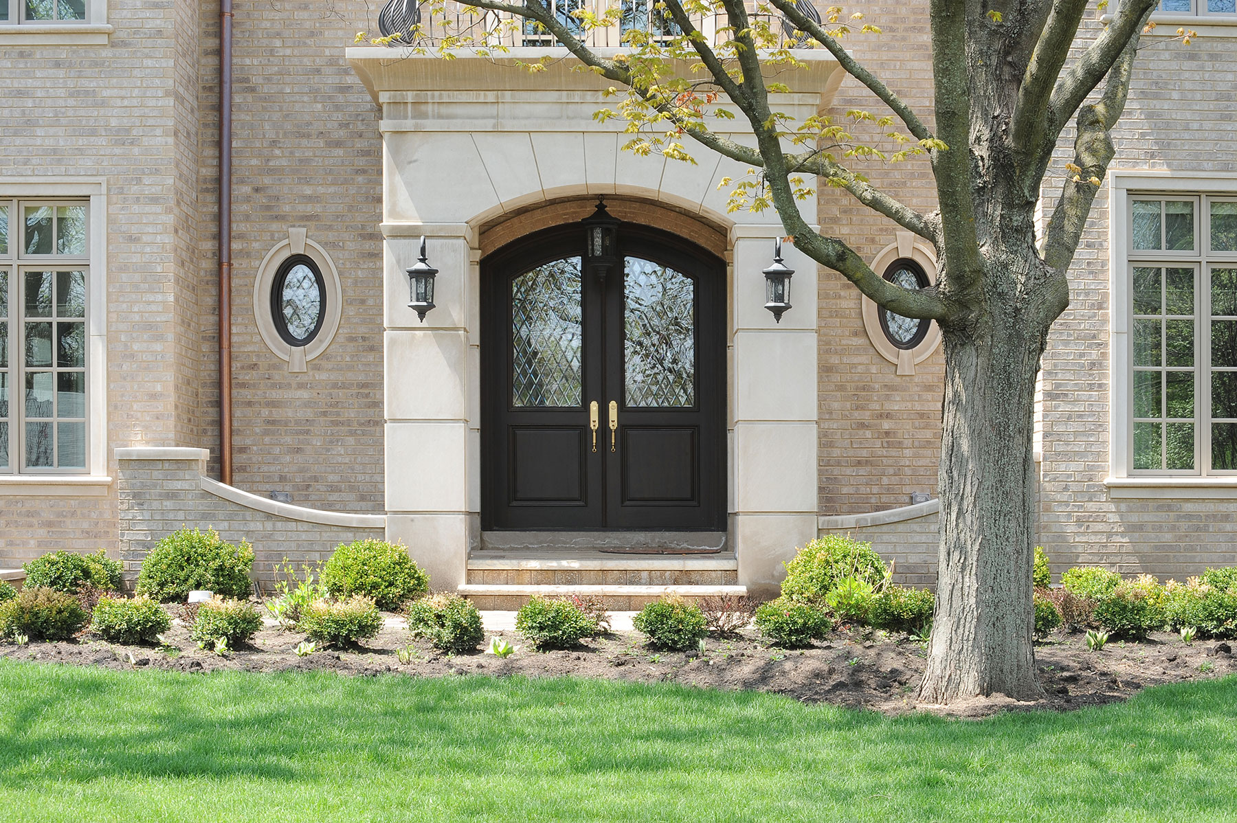 Custom Wood Front Entry Doors | Custom Solid Mahogany Wood Double Door with Transom with Clear Diamond Glass  - Glenview Doors - Custom Doors in Chicago