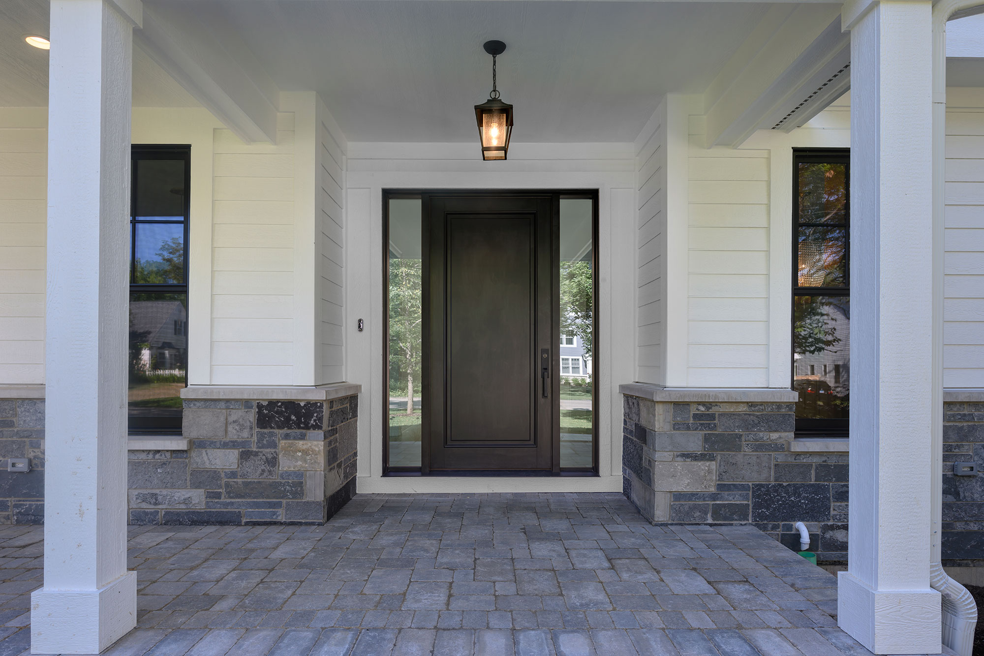 Custom Wood Front Entry Doors | classic single  front door with sidelites, clear beveled glass DB-001PW 2SL - Glenview Doors - Custom Doors in Chicago