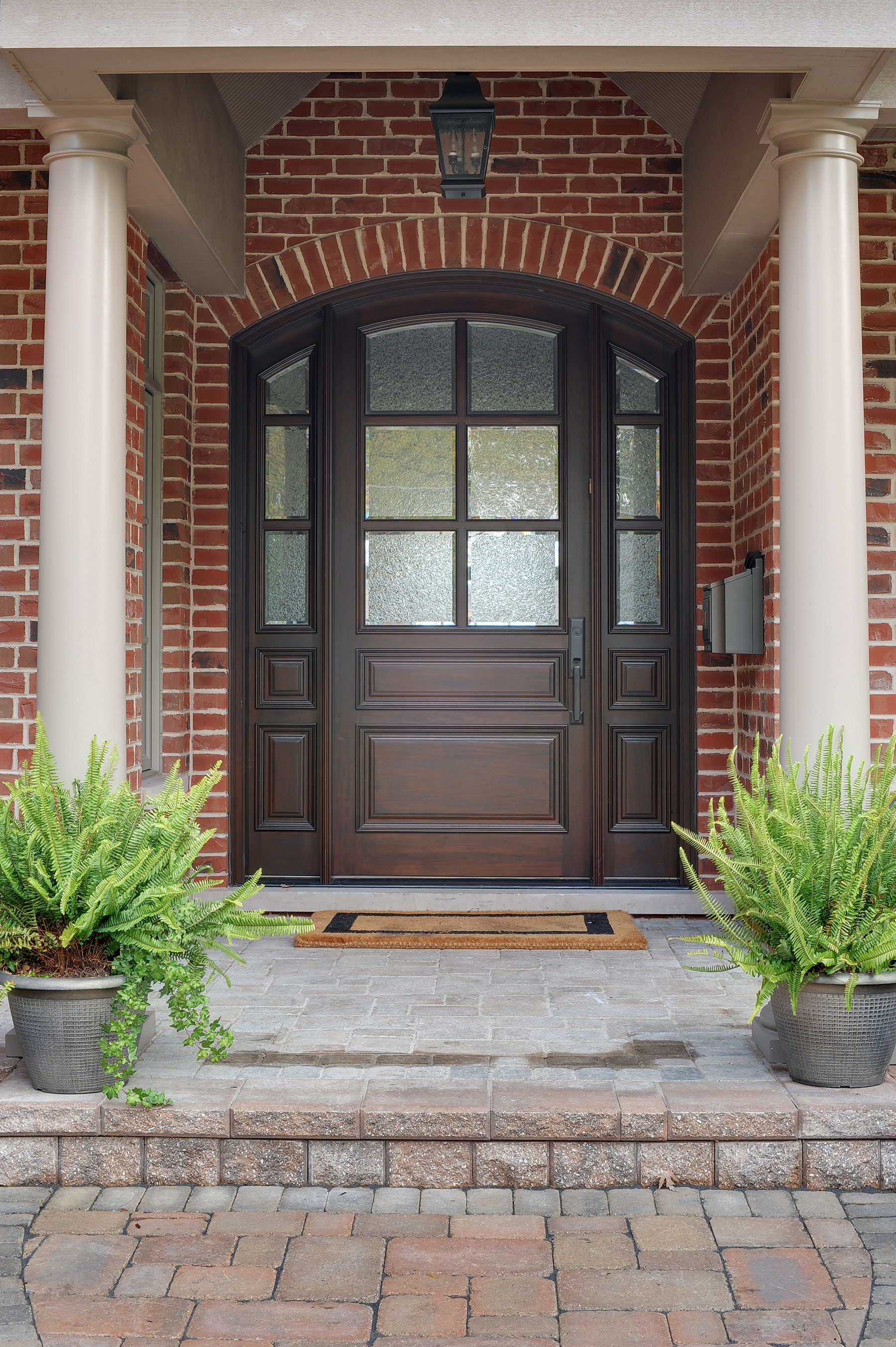 Solid Wood Front Entry Doors in-Stock | Classic Collection Solid Wood Arched Entry Door with Sidelites DB-652W 2SL - Glenview Doors - Custom Doors in Chicago