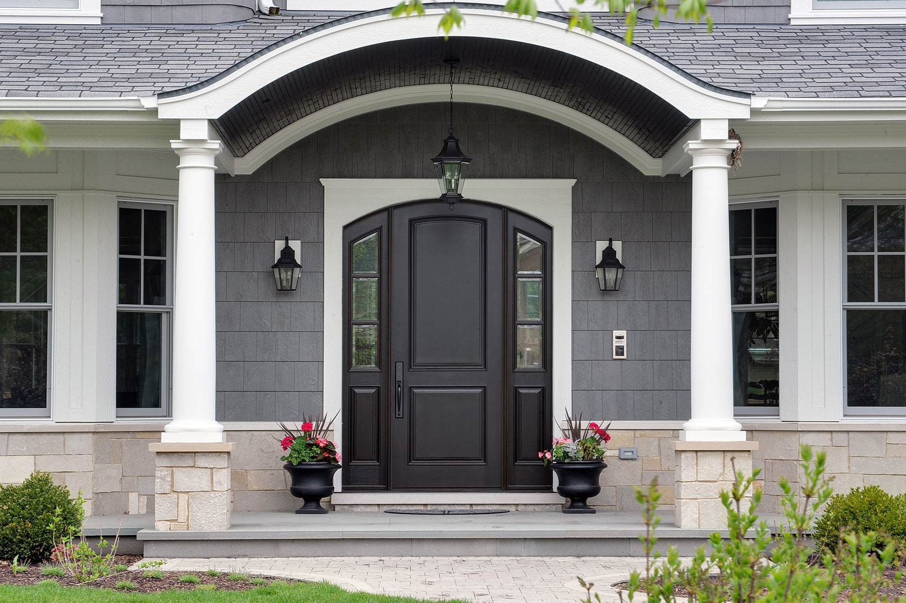 Custom Wood Front Entry Doors. Custom Arched Top Mahogany Wood Front Entry Door with Sidelites