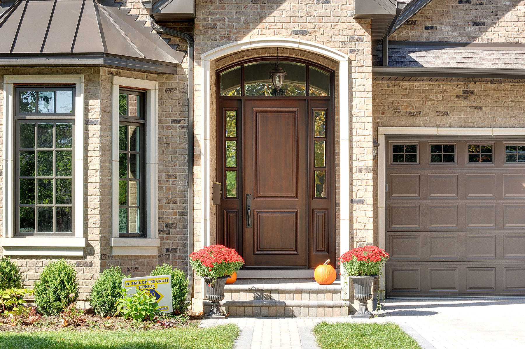 Custom Wood Front Entry Doors | two panel front entry door, with custom transom and sidelites DB-301T 2SL - Glenview Doors - Custom Doors in Chicago