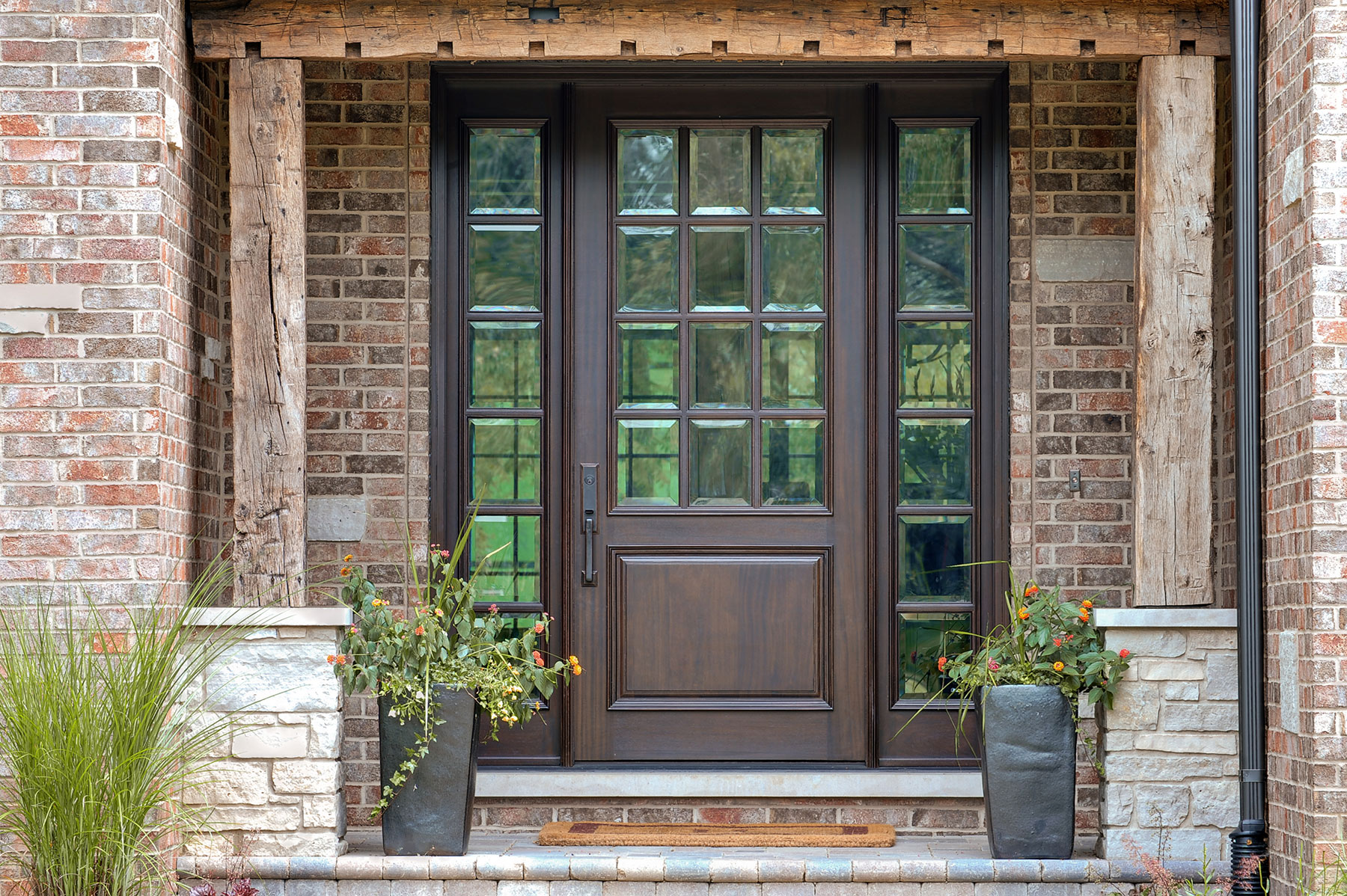 Custom Wood Front Entry Doors | single panel solid wood front entry door, with matching sidelites  - Glenview Doors - Custom Doors in Chicago