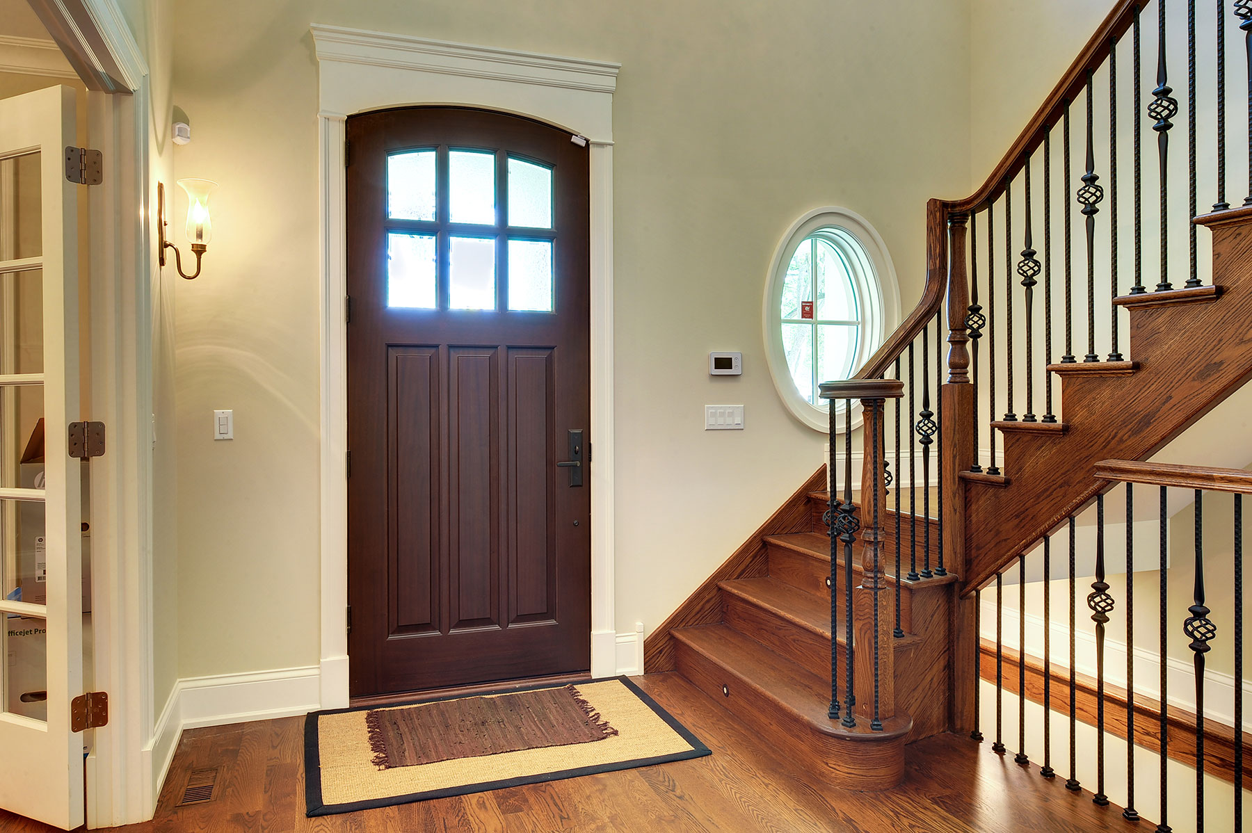 Custom Solid Mahogany Door, Beveled Glue Chip Privacy Glass With Grilles,  Interior View #143