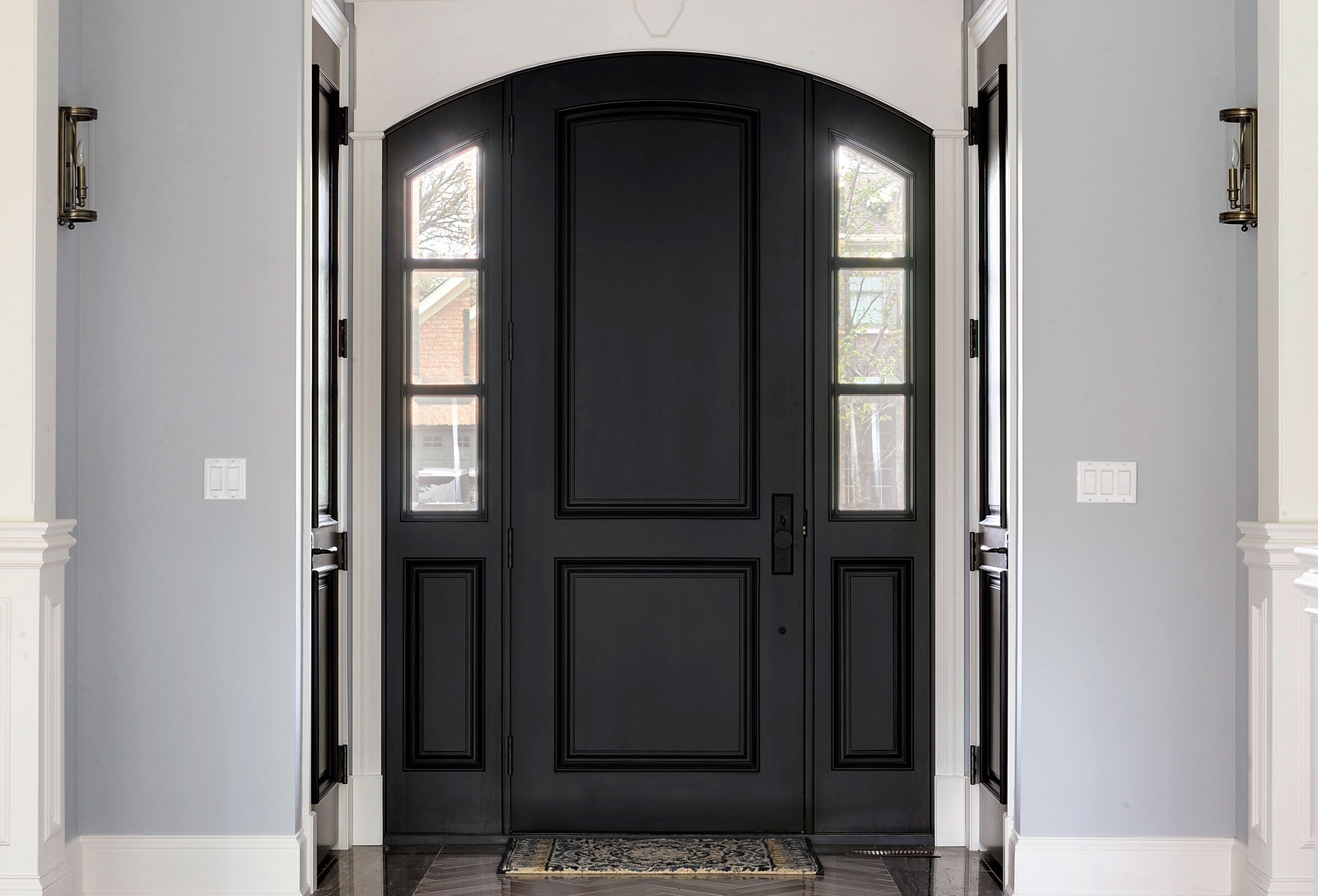 Custom Wood Front Entry Doors | Custom Arched Top Mahogany Wood Front Entry Door with Sidelites  - Glenview Doors - Custom Doors in Chicago