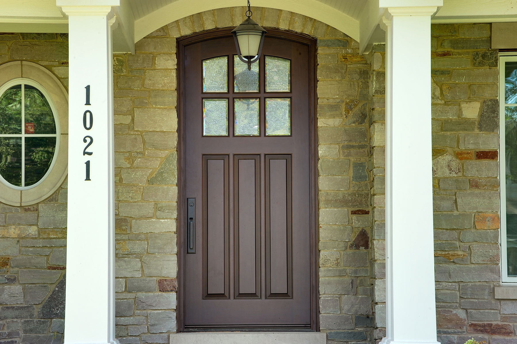 Custom Wood Front Entry Doors | solid mahogany wood front entry door, privacy glass DB-012WA - Glenview Doors - Custom Doors in Chicago