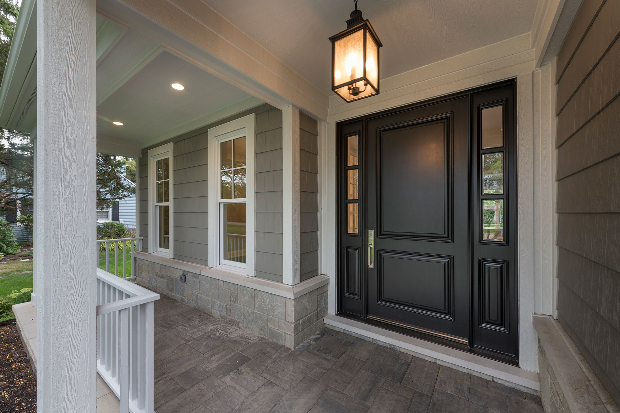 Wood Front Entry Doors in-Stock | classic two panel front entry door with sidelites, dark finish, exterior view DB-301PW 2SL - Glenview Doors - Custom Doors in Chicago