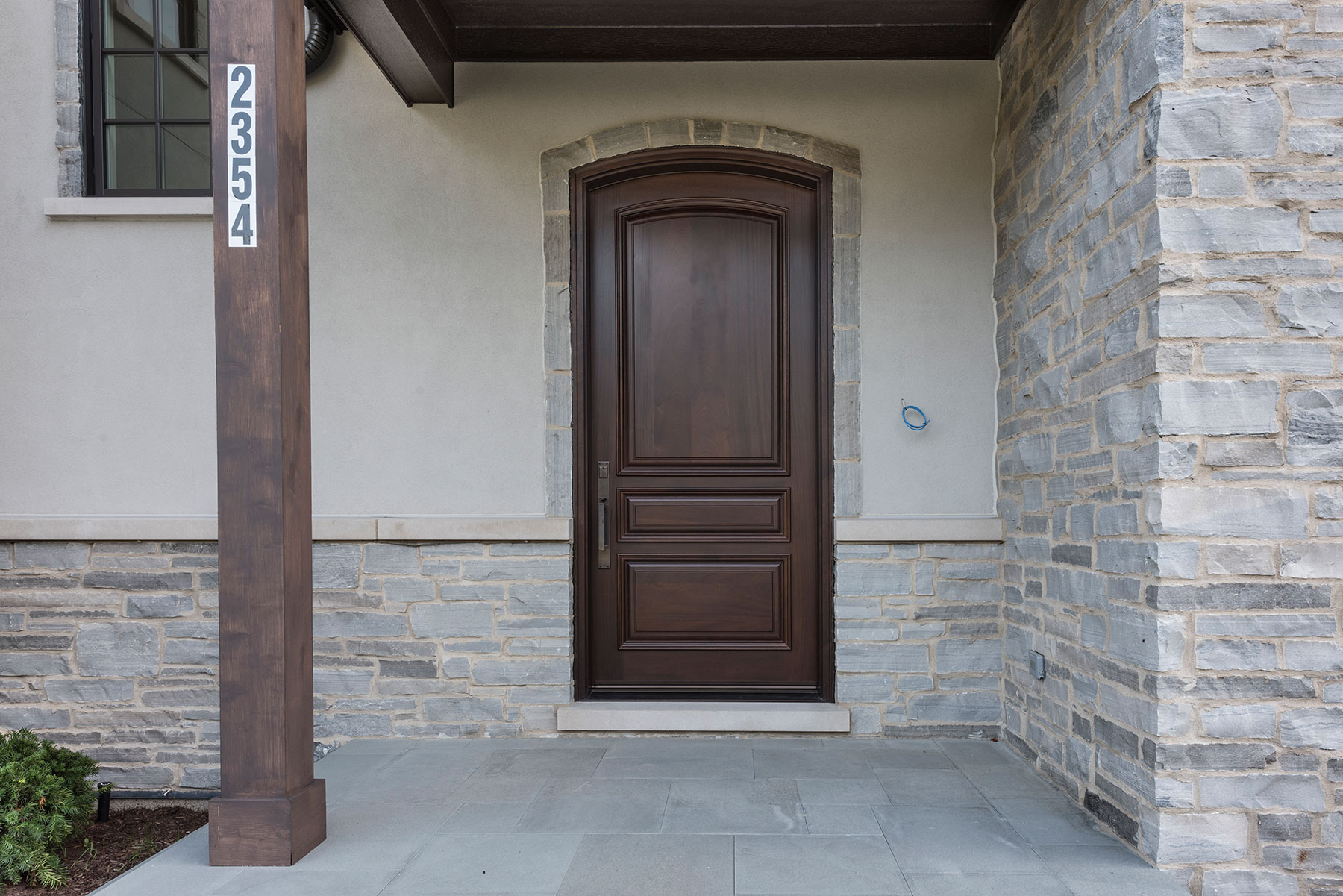 Custom Wood Front Entry Doors | solid wood front entry door, walnut stain, for luxury home  - Glenview Doors - Custom Doors in Chicago