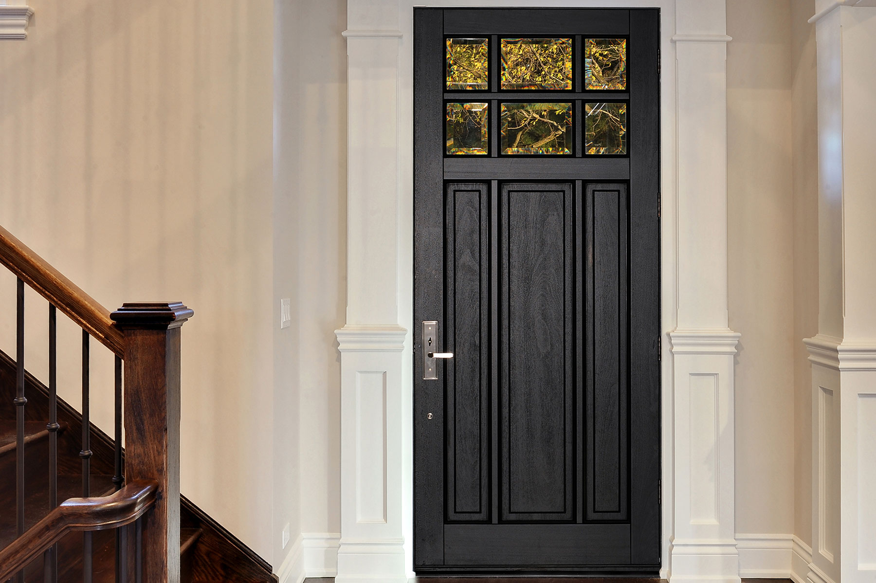Custom Wood Front Entry Doors. Classic Collection 3 Panel Door, Euro Technology, Clear Beveled Glass, Interior View