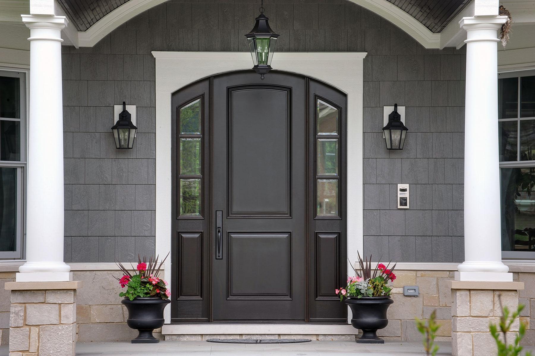 Custom Wood Front Entry Doors | solid wood front entry door with sidelites, classic style  - Glenview Doors - Custom Doors in Chicago