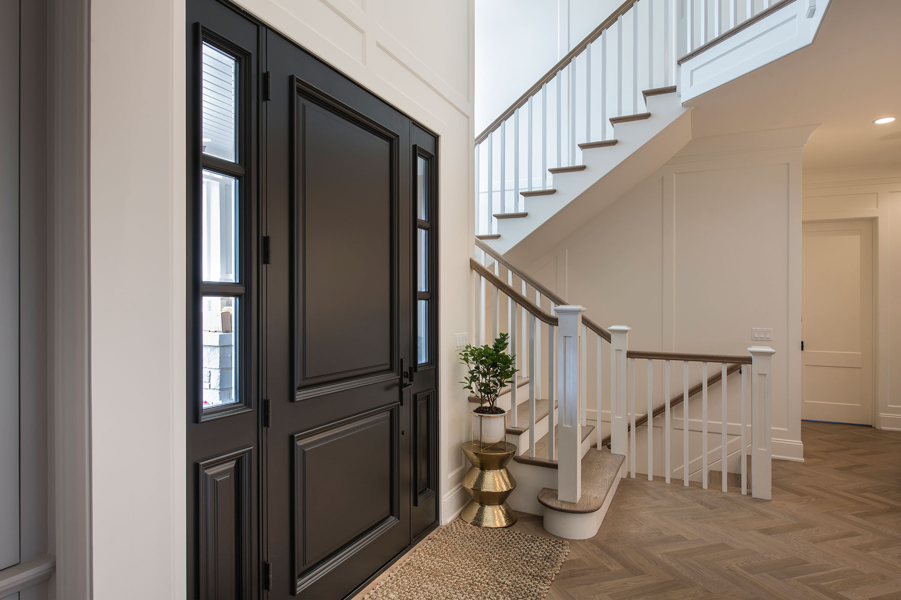 Wood Front Entry Doors in-Stock | interior view of solid wood front entry door with sidelites DB-301PW 2SL - Glenview Doors - Custom Doors in Chicago