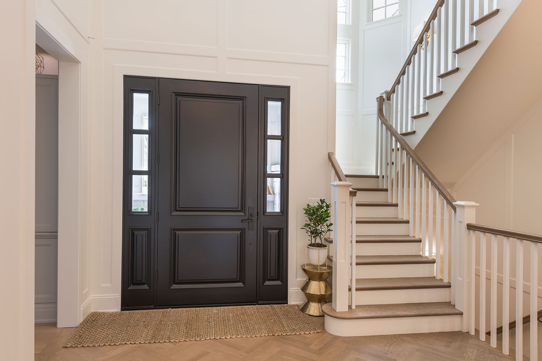 Wood Front Entry Doors in-Stock | two panel classic front entry door, in dark finish, hallway view DB-301PW 2SL - Glenview Doors - Custom Doors in Chicago