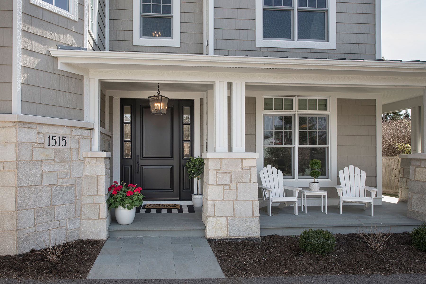 Wood Front Entry Doors in-Stock | classic two panel front entry door with sidelites, exterior view DB-301PW 2SL - Glenview Doors - Custom Doors in Chicago