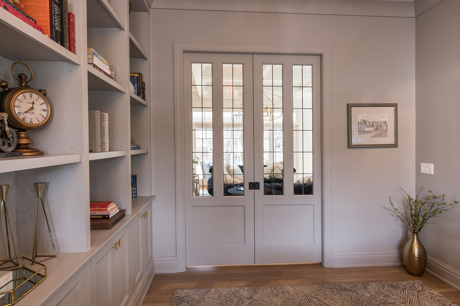 Custom Wood Interior Doors | Paint Grade Custom Interior Double Doors, Clear Glass  - Glenview Doors - Custom Doors in Chicago