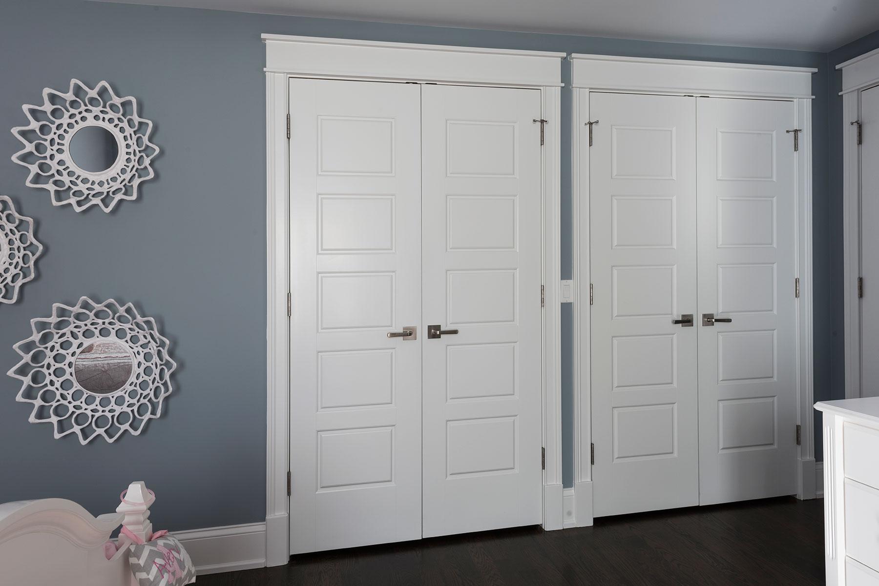 Custom Wood Interior Doors | 5-Panel Paint Grade MDF Double Closet Doors with Ball Catches  - Glenview Doors - Custom Doors in Chicago