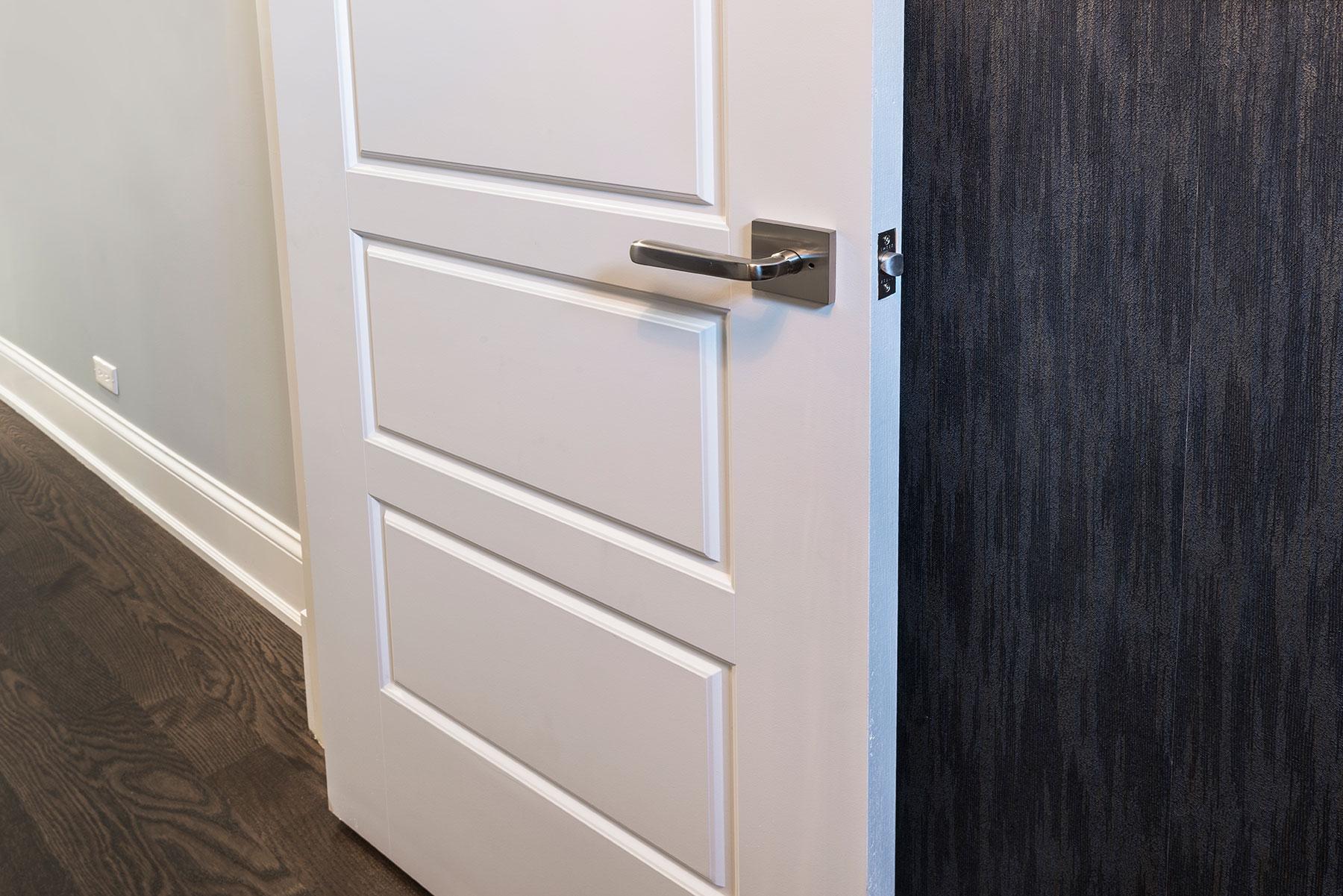 Custom Wood Interior Doors | 5-Panel Paint Grade MDF Door with Satin Nickel  - Glenview Doors - Custom Doors in Chicago