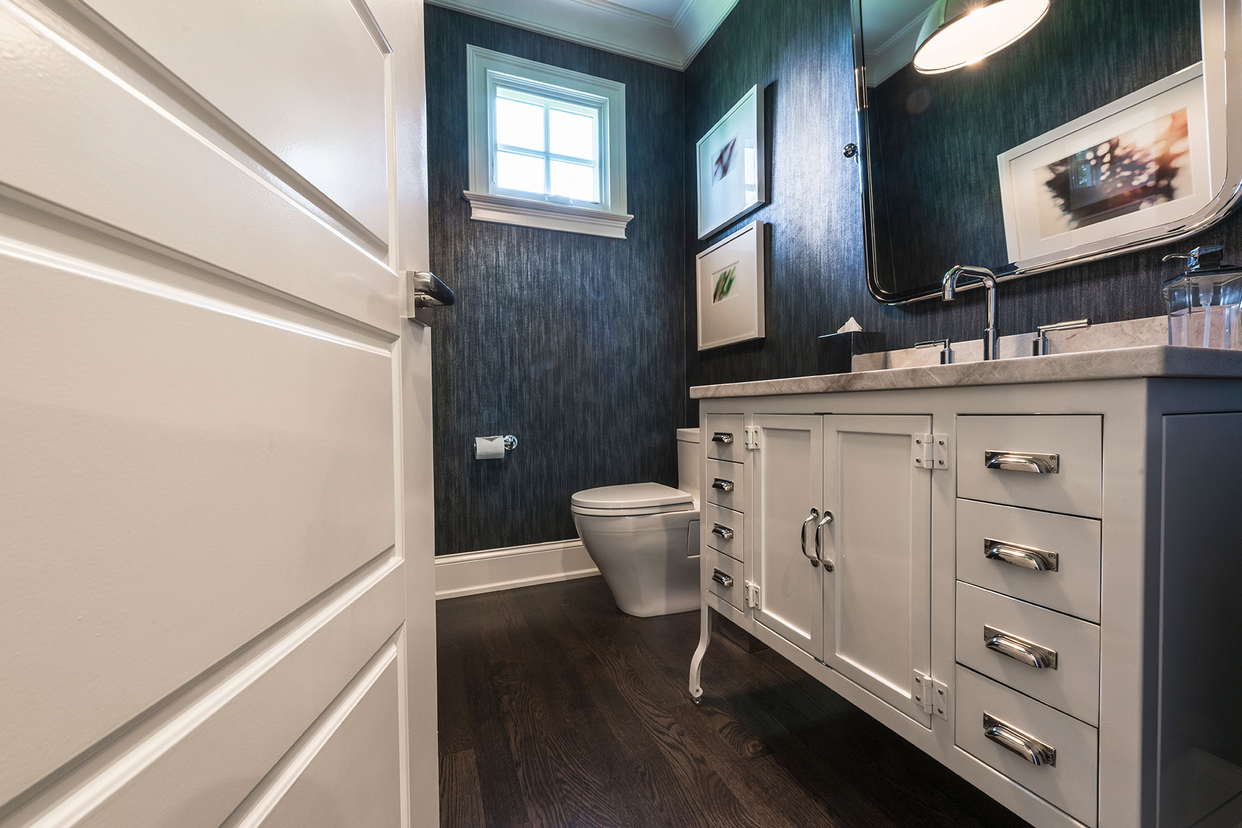 Custom Wood Interior Doors | Paint Grade MDF Powder Room Door Detail with Raised Panel  - Glenview Doors - Custom Doors in Chicago
