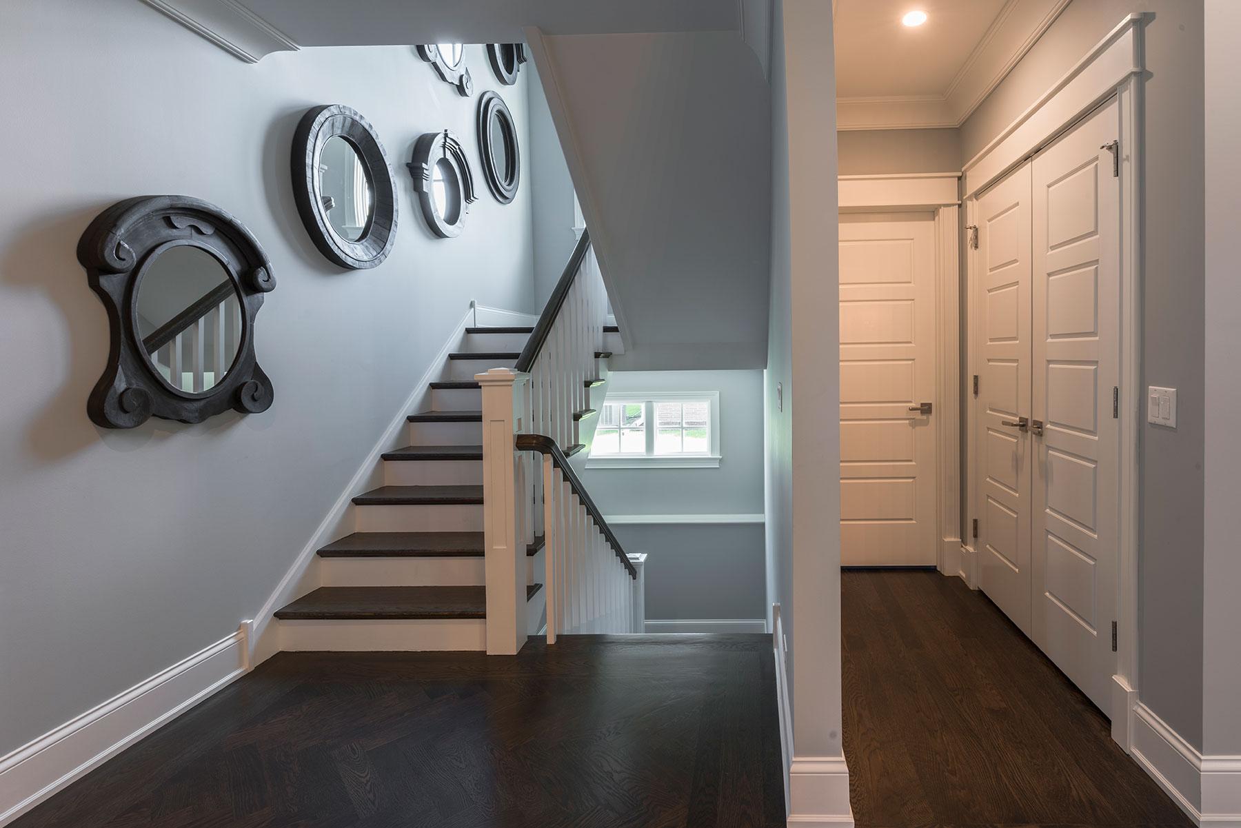 Custom Wood Interior Doors | 5 Raised Panel Paint Grade MDF Doors on Closet and Powder Room  - Glenview Doors - Custom Doors in Chicago