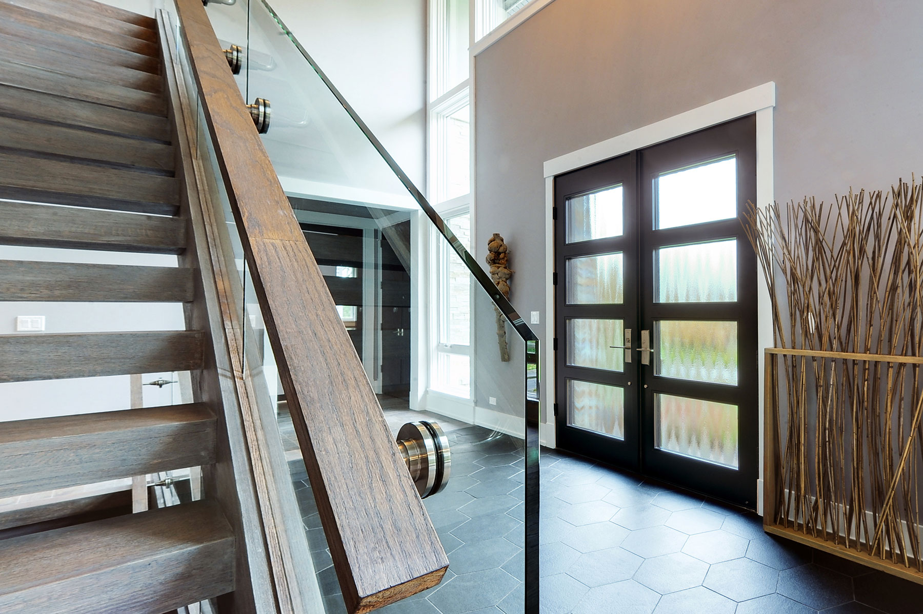 Custom Wood Front Entry Doors. Custom Modern Wood Double Door, Insulated Privacy Glass, Interior View