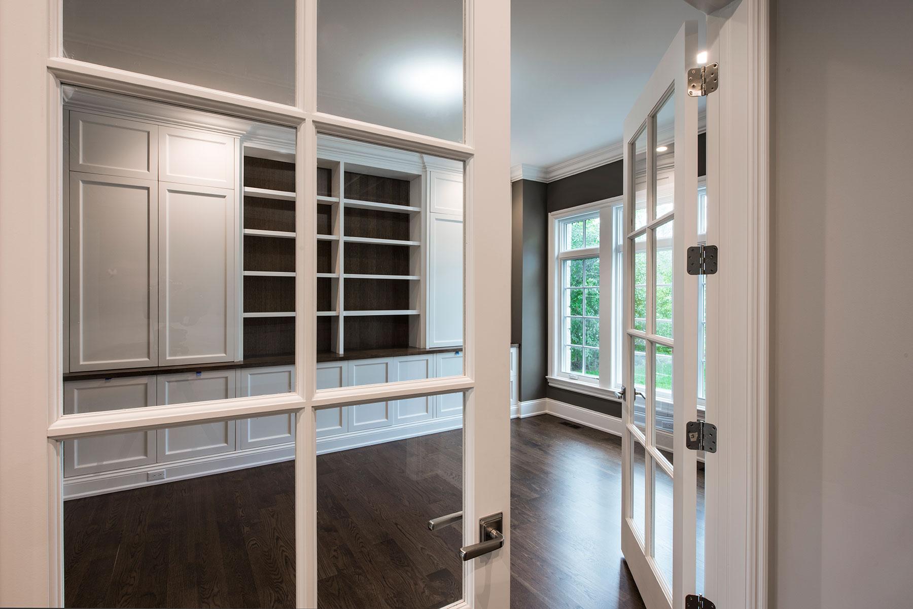 Custom Wood Interior Doors | Custom Paint-Grade Interior Double Doors with Clear Glass.  - Glenview Doors - Custom Doors in Chicago