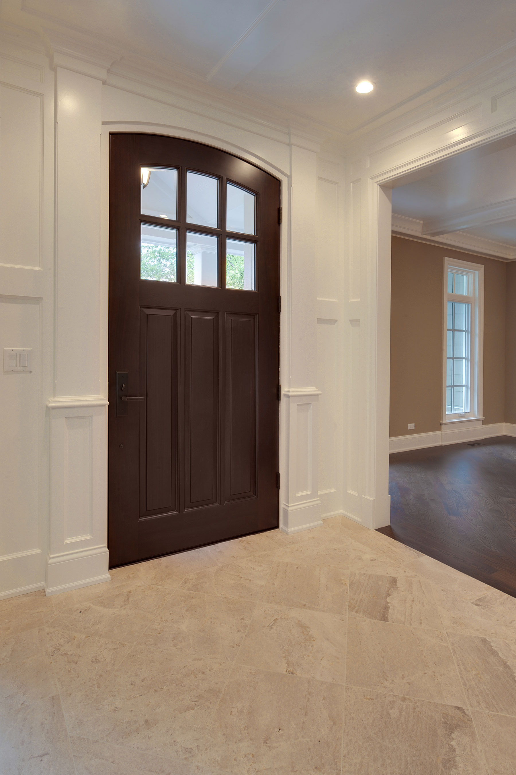 Custom Wood Front Entry Doors | interior view of french style front entry door, mahogany wood DB-112WA - Glenview Doors - Custom Doors in Chicago