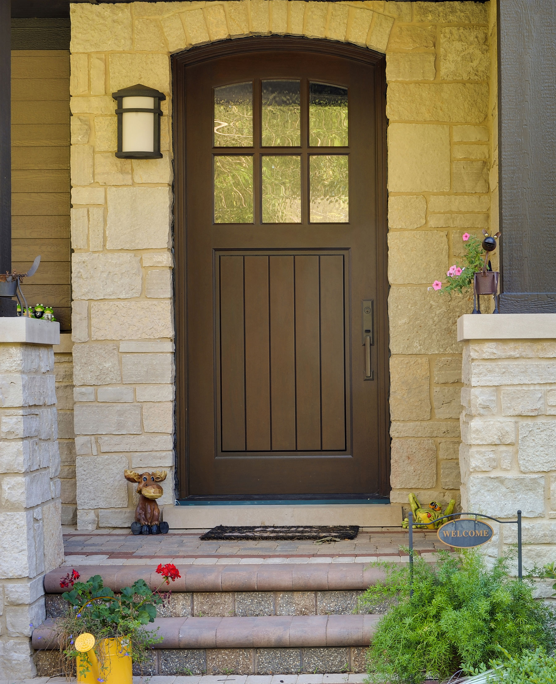 Custom Wood Front Entry Doors | single door privacy glass, in classic french collection  - Glenview Doors - Custom Doors in Chicago