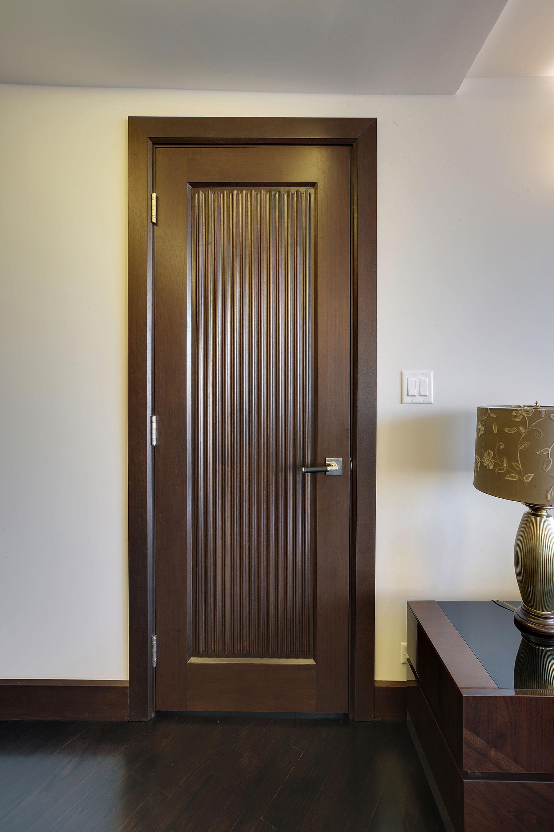 Interior Door Custom Single Solid Wood With Walnut