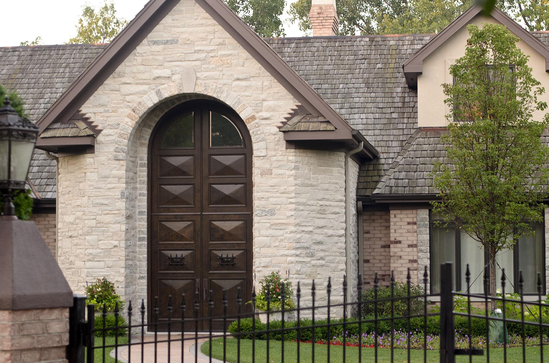 Custom Wood Front Entry Doors | Custom Solid Wood Mahogany Double Door with Transom, Rustic Collection  - Glenview Doors - Custom Doors in Chicago