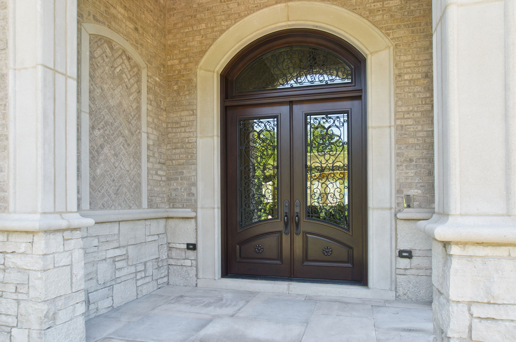 Custom Wood Front Entry Doors | Custom Solid Mahogany Wood Double Door with Transom, Walnut Finish, Wrought Iron, Heritage Collection DB-H003 DD S TR CST - Glenview Doors - Custom Doors in Chicago