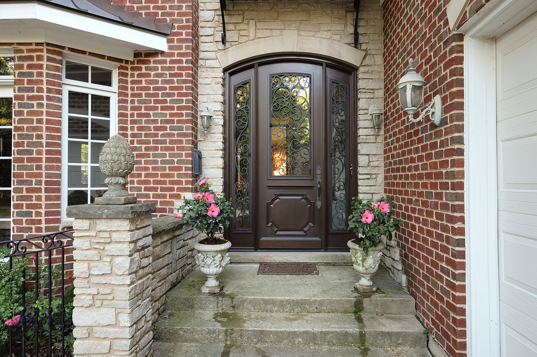 Custom Wood Front Entry Doors | Custom Solid Mahogany Wood Door with Two Sidelites and Wrought Iron, Heritage Collection, Exterior View DB-H003 2SL F CST - Glenview Doors - Custom Doors in Chicago
