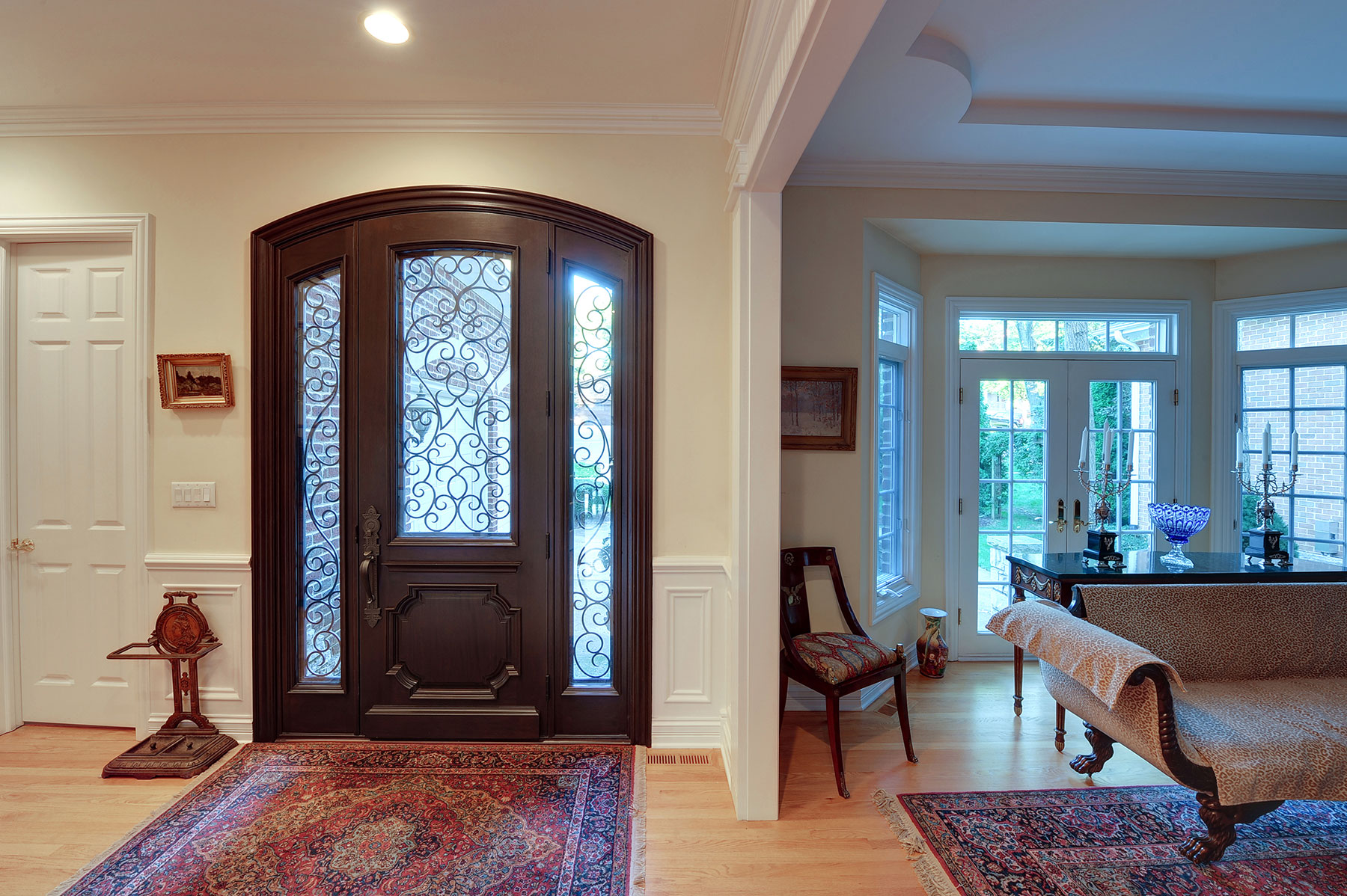 Custom Wood Front Entry Doors | Custom Solid Mahogany Wood Door with Two Sidelites and Wrought Iron, Heritage Collection, Interior View DB-H003 2SL F CST - Glenview Doors - Custom Doors in Chicago