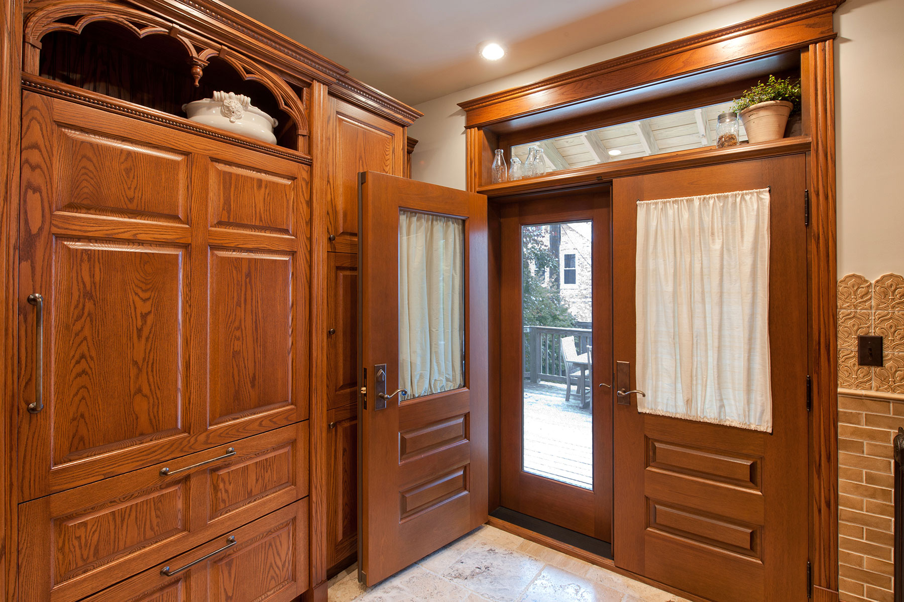 Custom Wood Front Entry Doors | Custom Solid Wood Historical Home Renovation Mahogany Double Door with Transom   - Glenview Doors - Custom Doors in Chicago