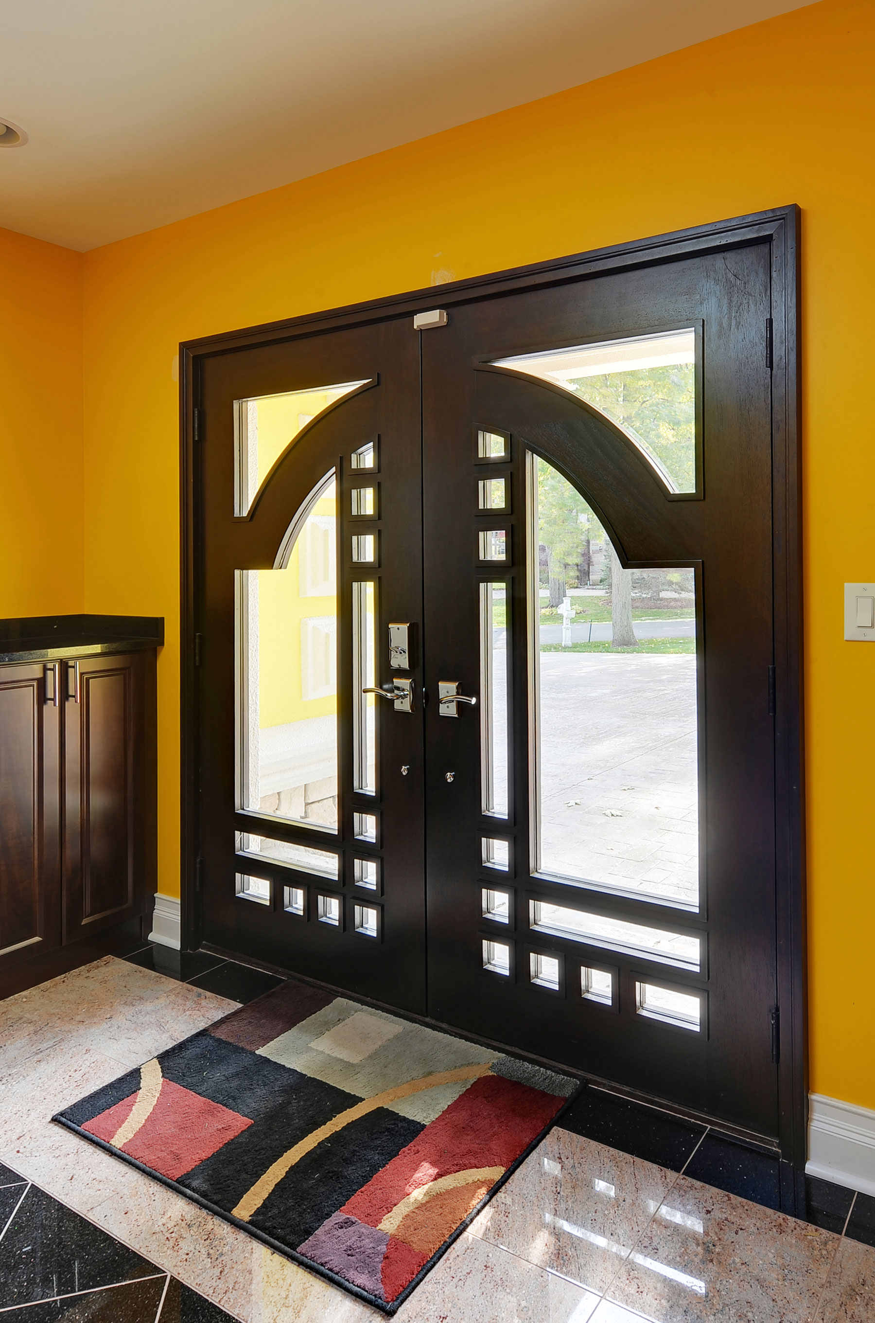 Custom Wood Front Entry Doors | Custom Contemporary Solid Mahogany Door DB-003 DD CST - Glenview Doors - Custom Doors in Chicago