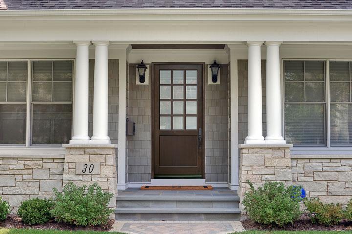 Classic Entry Door.  12 lite solid wood entry door, dark finish DB-012PW