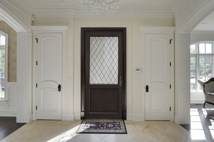 Classic Entry Door.  diamond glass single classic door DB-203PWDG