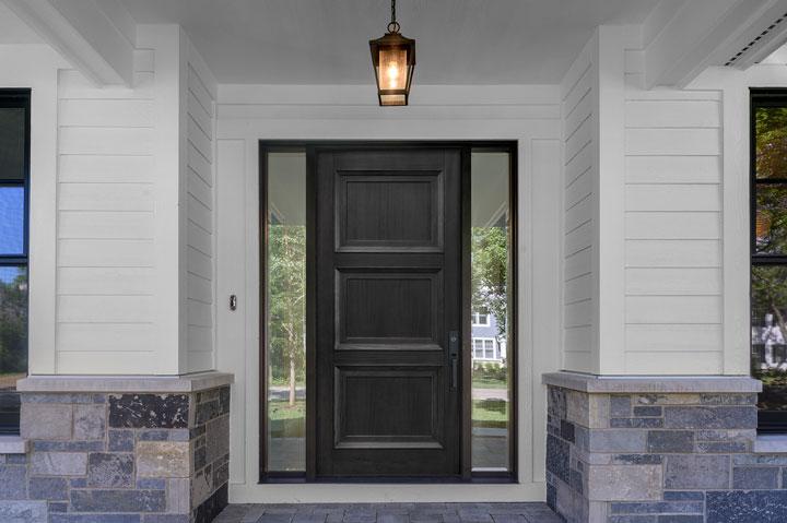 Transitional Entry Door.  Traditional Style Door. Mahogany Wood, Satinato Glass DB-314PT 2SL-F