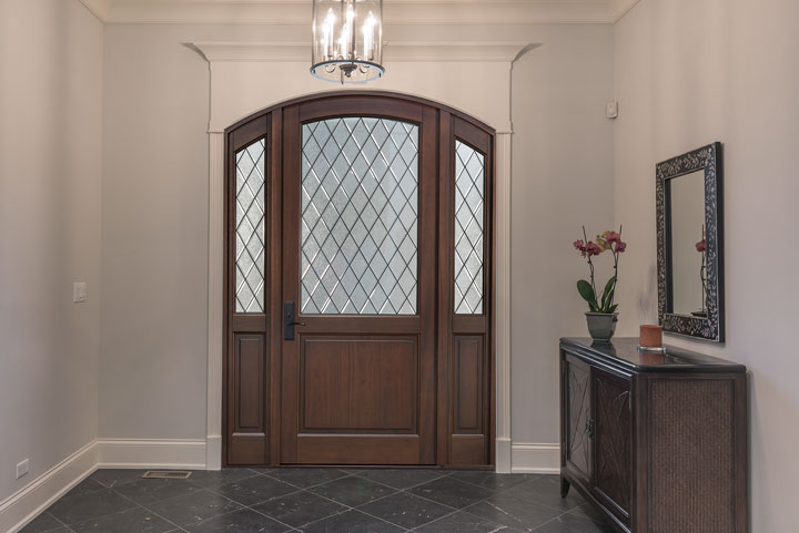 Classic Entry Door.  Diamond Glue Chip Glass Arch Top Door DB-552PWDG 2SL