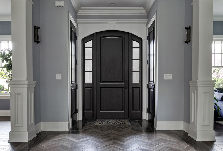 Classic Entry Door.  eurowood front entry door with sidelites, classic style DB-802PT 2SL