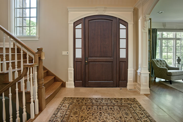 Classic Entry Door.  eurowood front entry door with sidelites, classic style DB-802PW 2SL